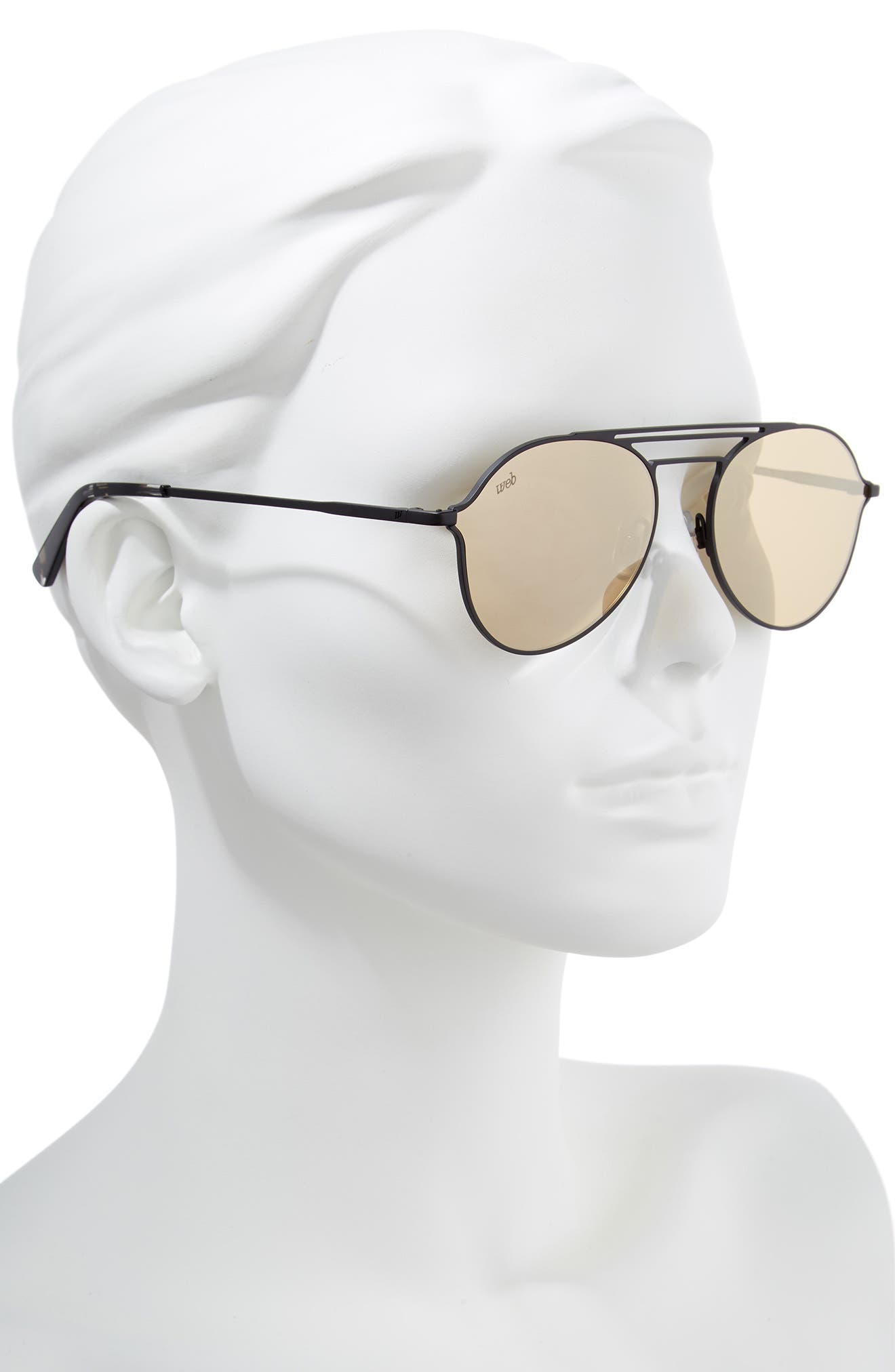 56mm Aviator Sunglasses,                             Alternate thumbnail 2, color,                             MATTE BLACK/ BROWN MIRROR
