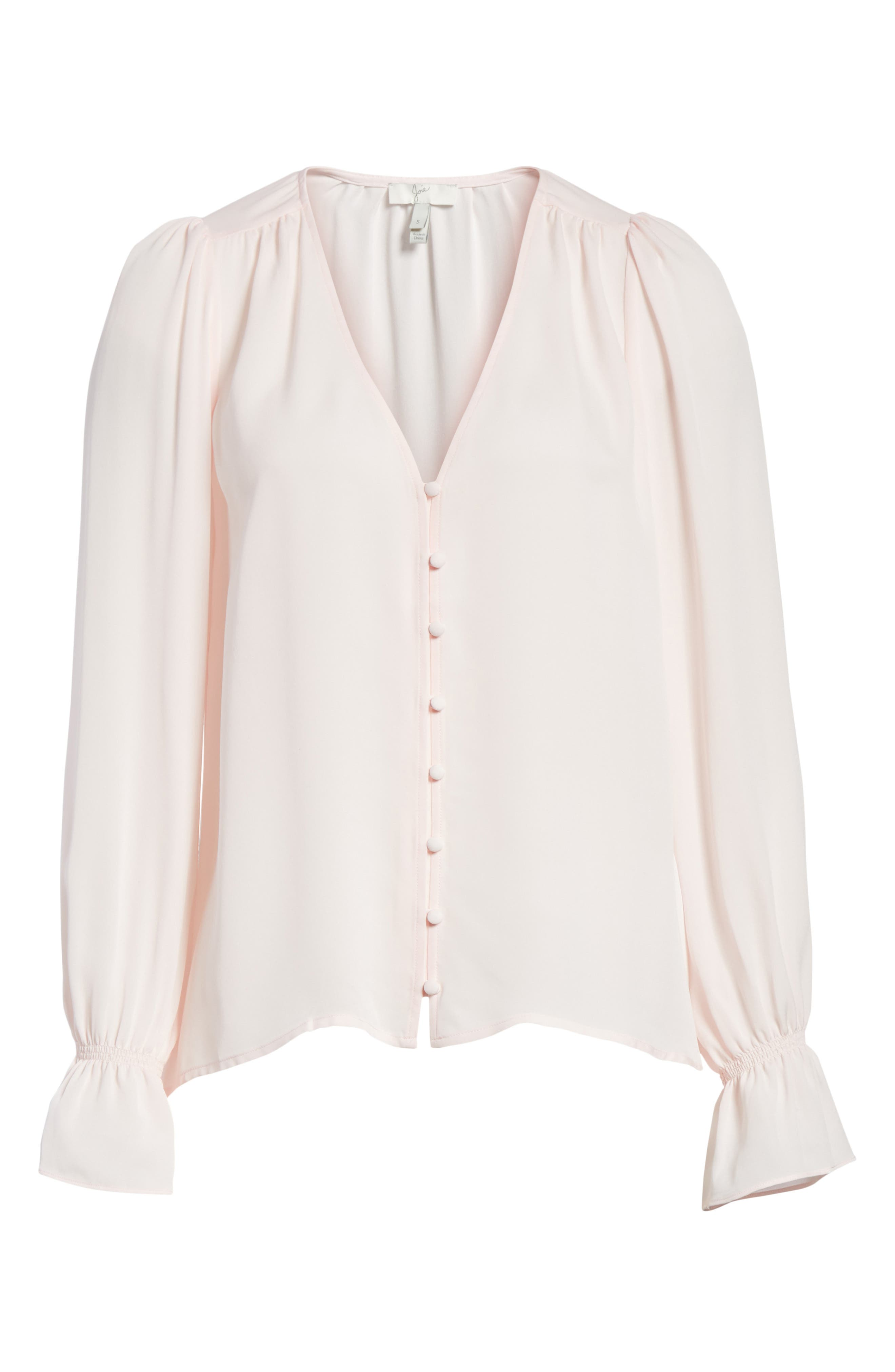 Bolona Silk Gathered Sleeve Top,                             Alternate thumbnail 6, color,                             ROSEWATER
