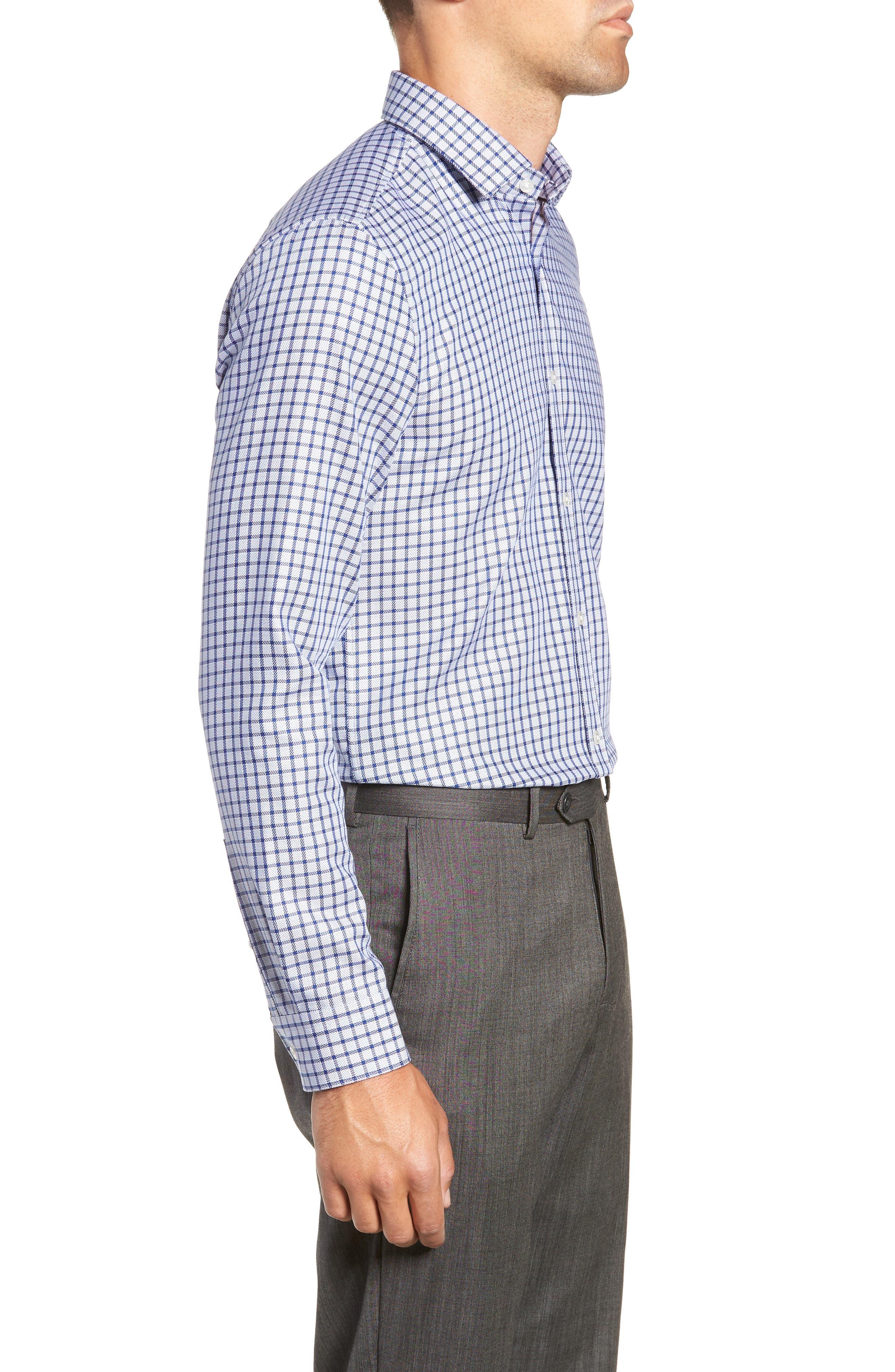 x Nordstrom Isaac Slim Fit Check Dress Shirt,                             Alternate thumbnail 4, color,                             BLUE