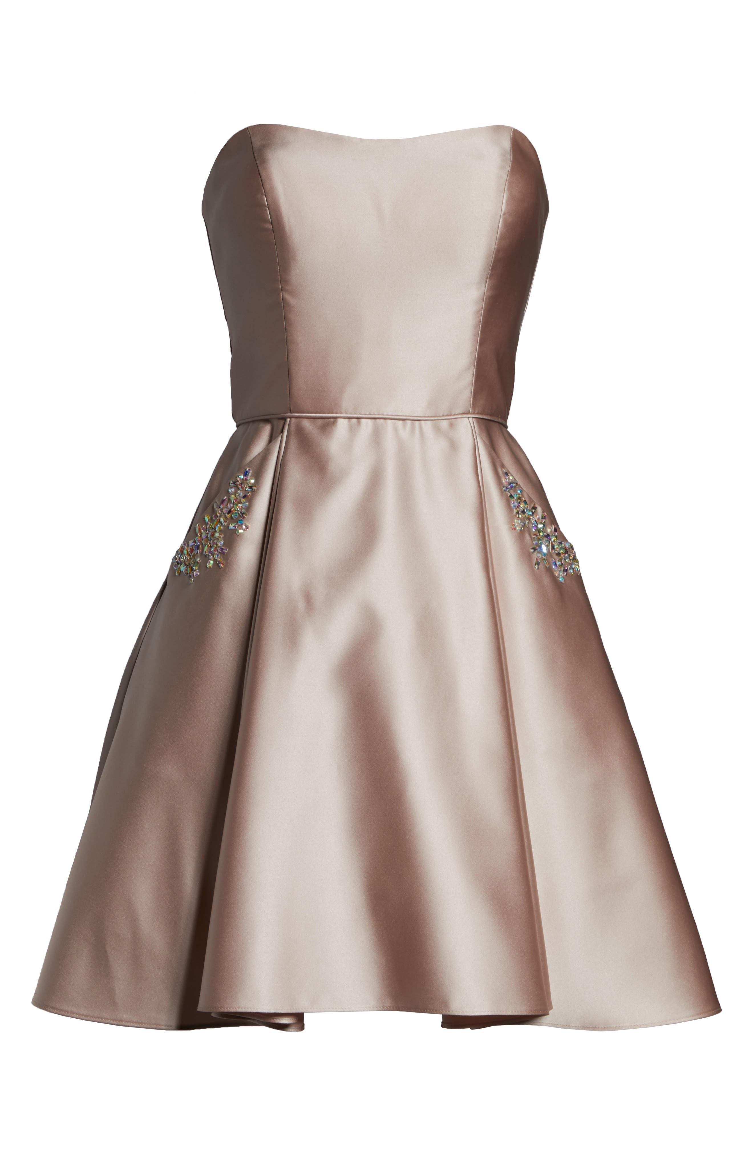 BLONDIE NITES,                             Embellished Satin Fit & Flare Dress,                             Alternate thumbnail 7, color,                             BEIGE