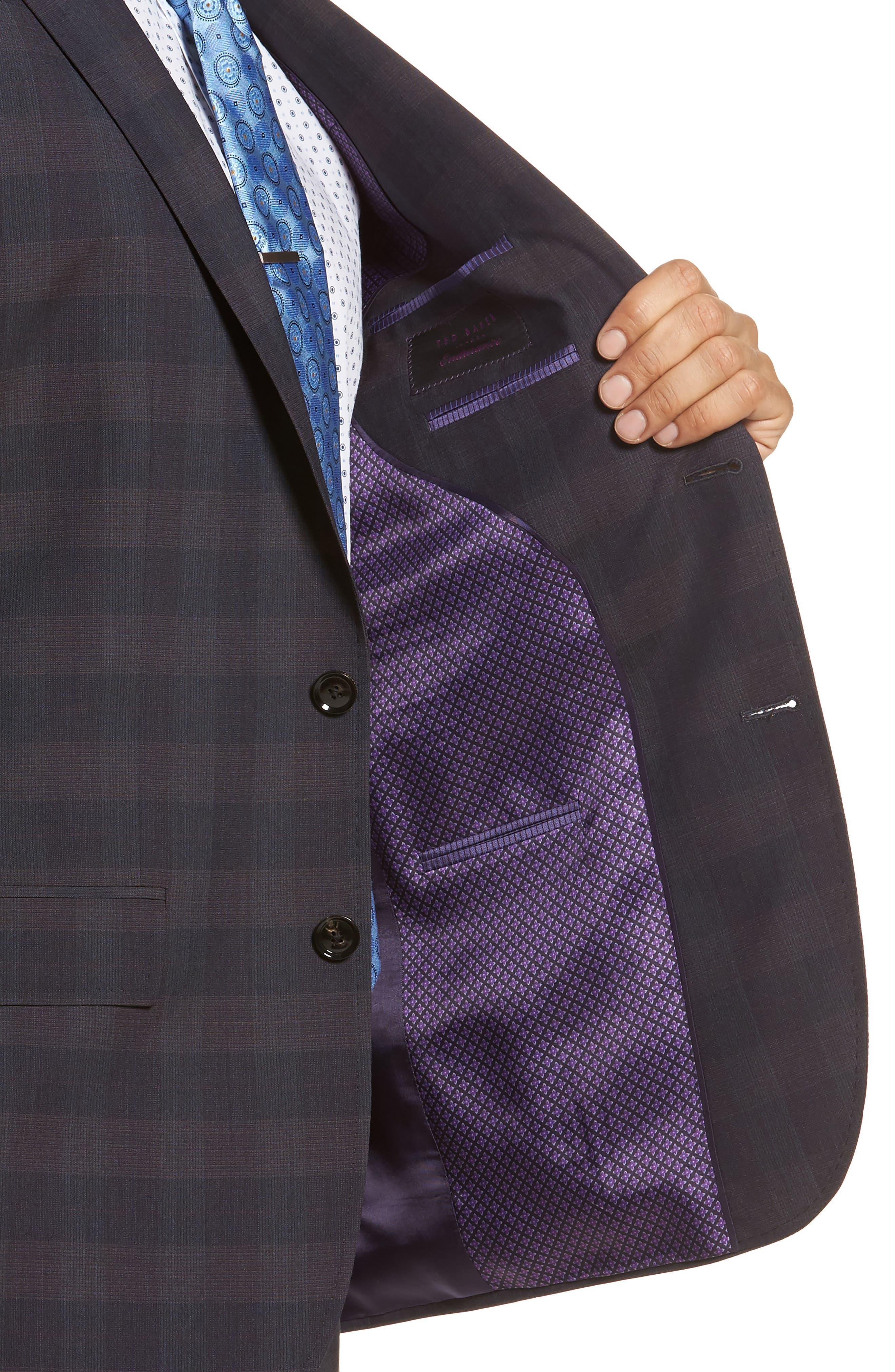 Jay Trim Fit Plaid Wool Suit,                             Alternate thumbnail 4, color,                             001