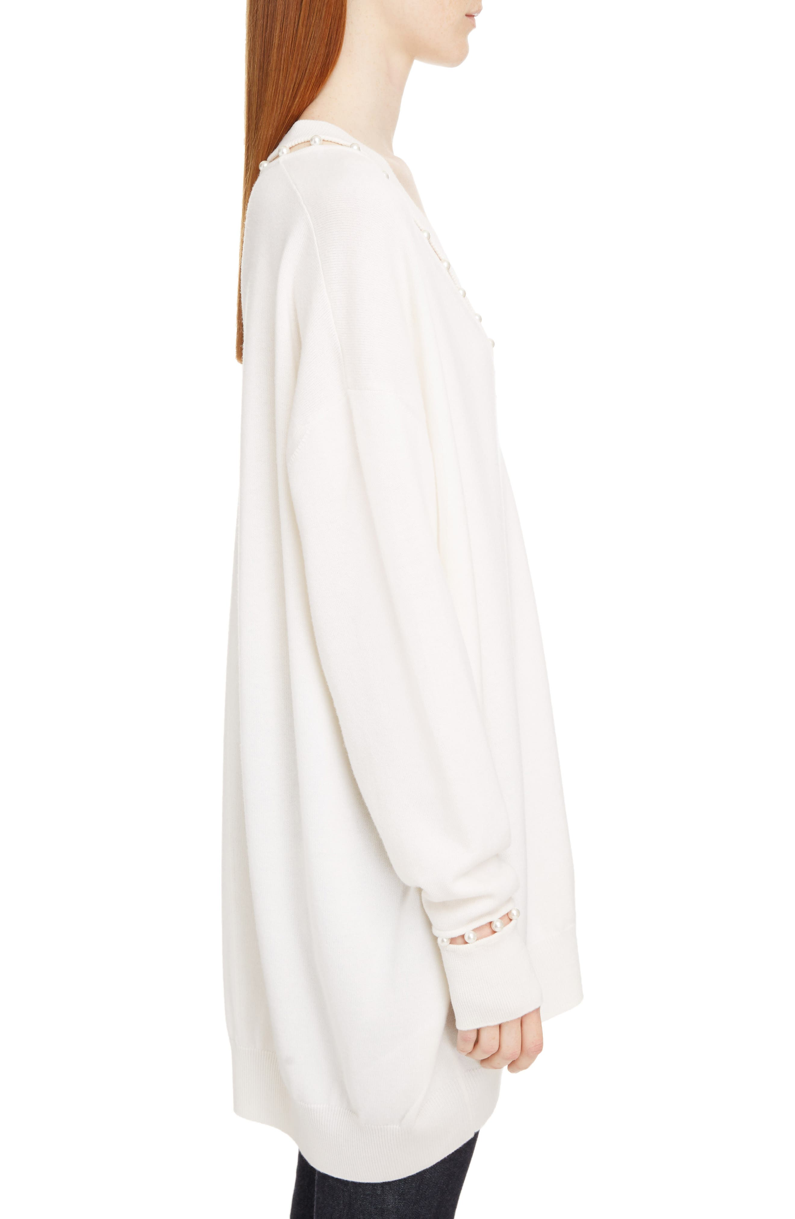 Imitation Pearl Embellished Cashmere & Wool Sweater,                             Alternate thumbnail 3, color,                             OFF WHITE