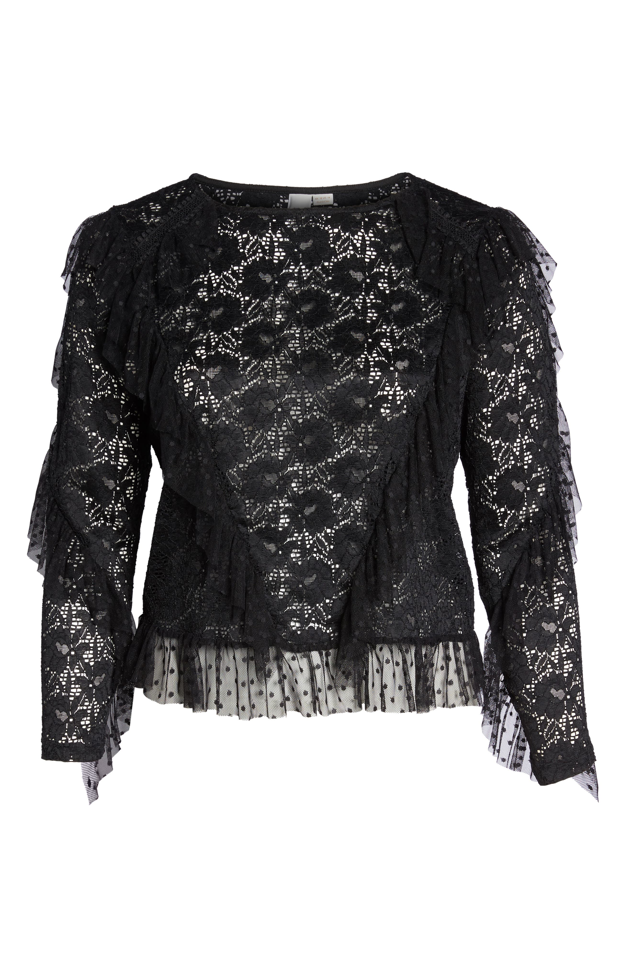 LOST INK,                             Ruffle Trim Lace Top,                             Alternate thumbnail 7, color,                             001