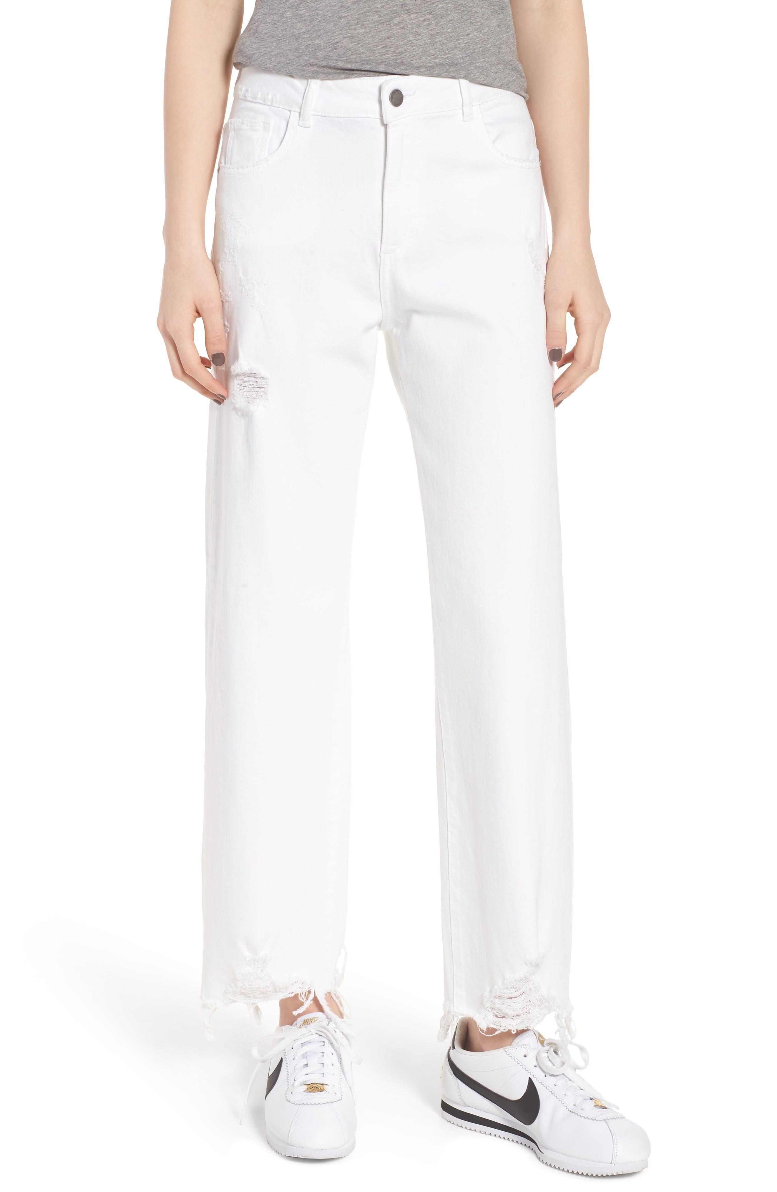 Hepburn High Waist Wide Leg Jeans,                         Main,                         color, 100