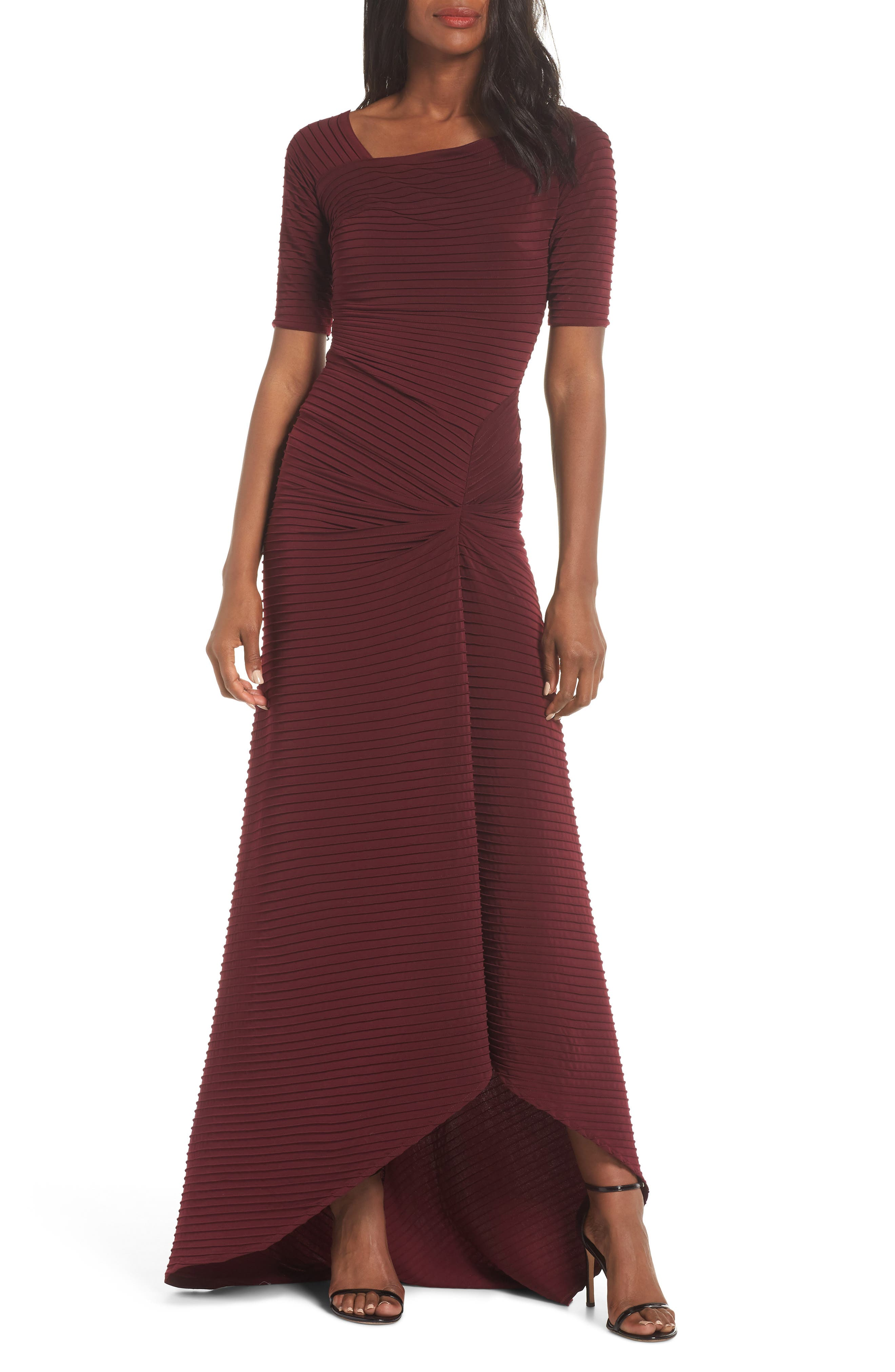Tadashi Shoji Pintuck Pleat Jersey Gown, Burgundy