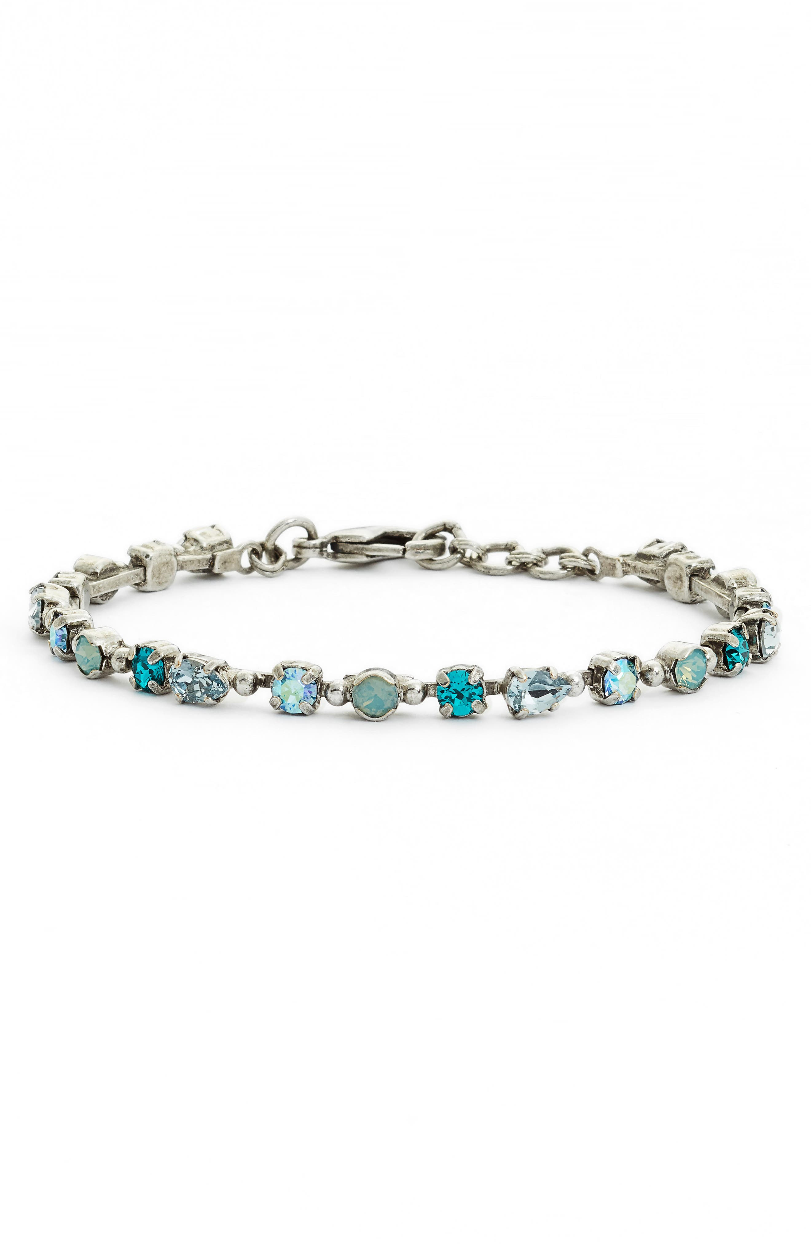 Straight & Narrow Crystal Tennis Bracelet,                             Main thumbnail 1, color,                             BLUE-GREEN