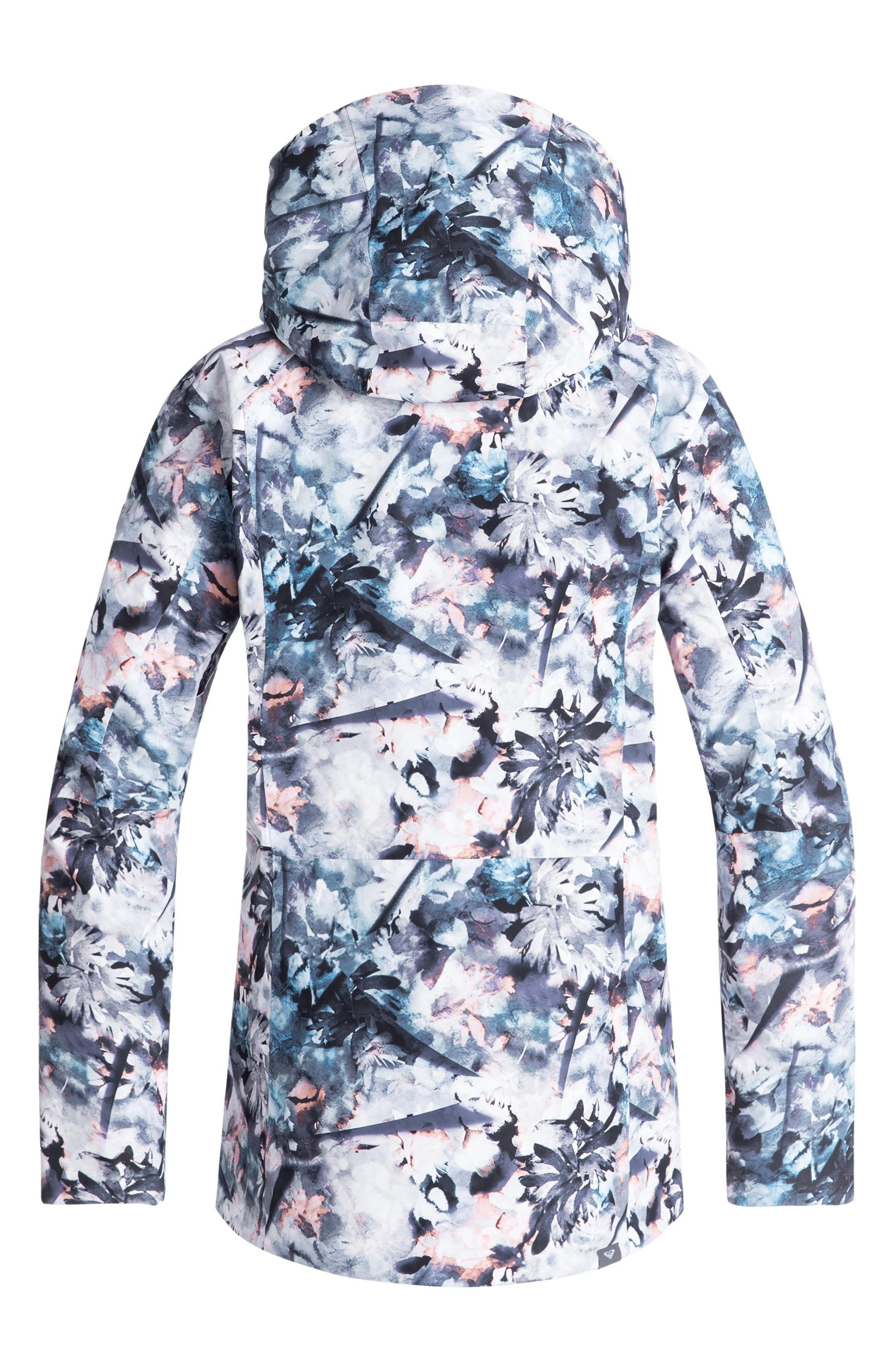 ROXY,                             Essence Tailored Fit 2 Layer Gore-Tex<sup>®</sup> PrimaLoft<sup>®</sup> Black Eco Insulated Snowsports Jacket,                             Alternate thumbnail 3, color,                             400