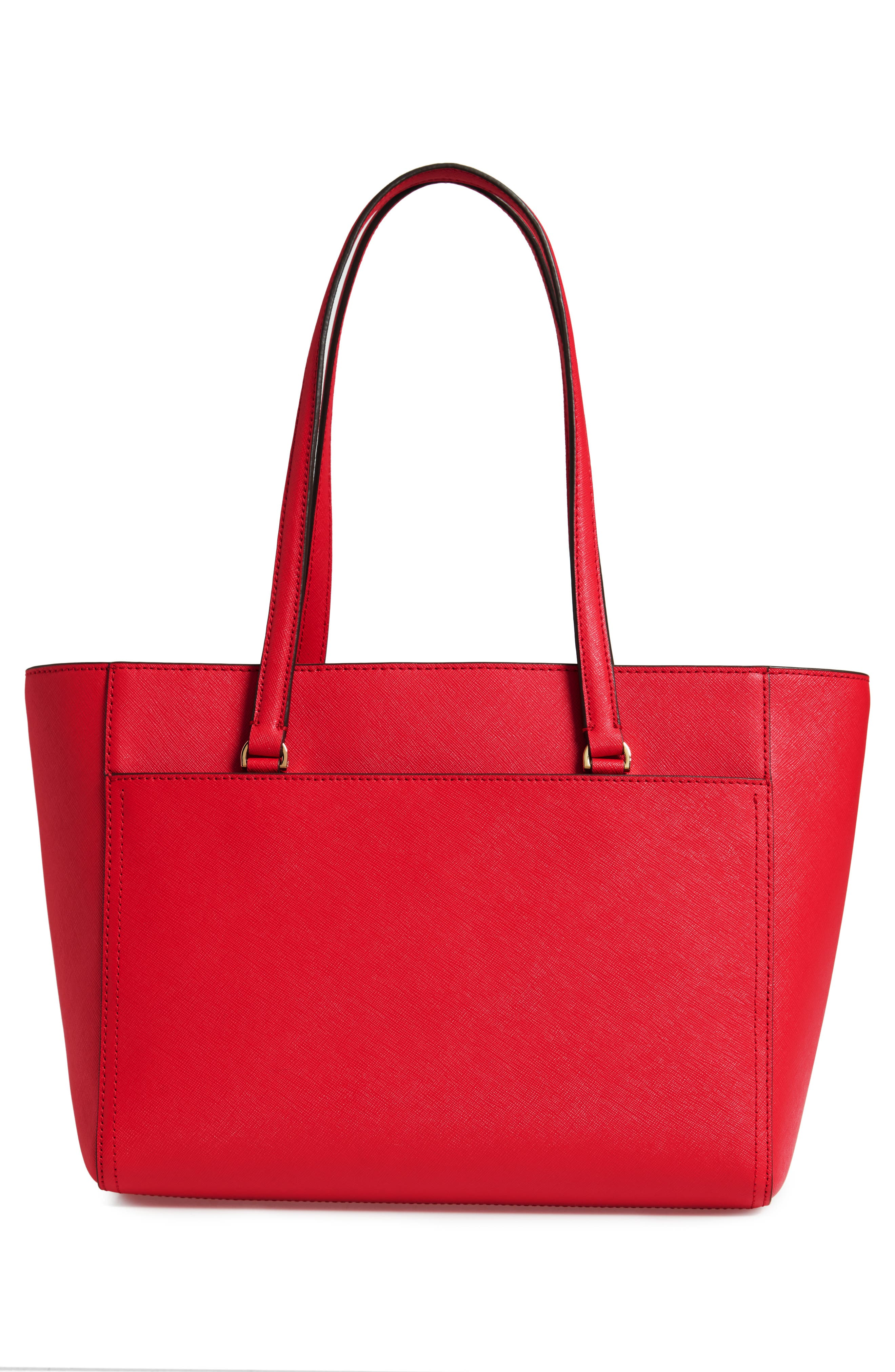 Small Robinson Leather Tote,                             Alternate thumbnail 3, color,                             BRILLIANT RED