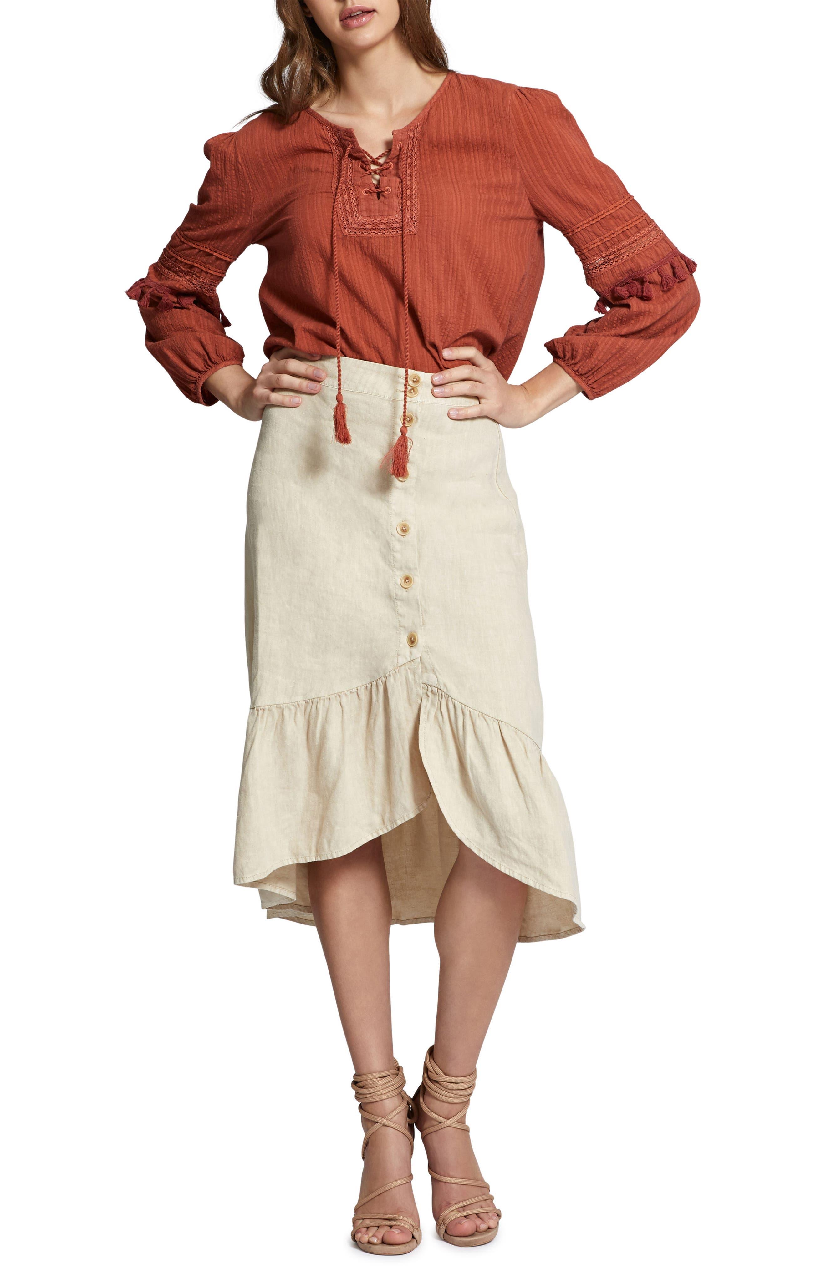 Lola Linen Skirt,                             Alternate thumbnail 4, color,
