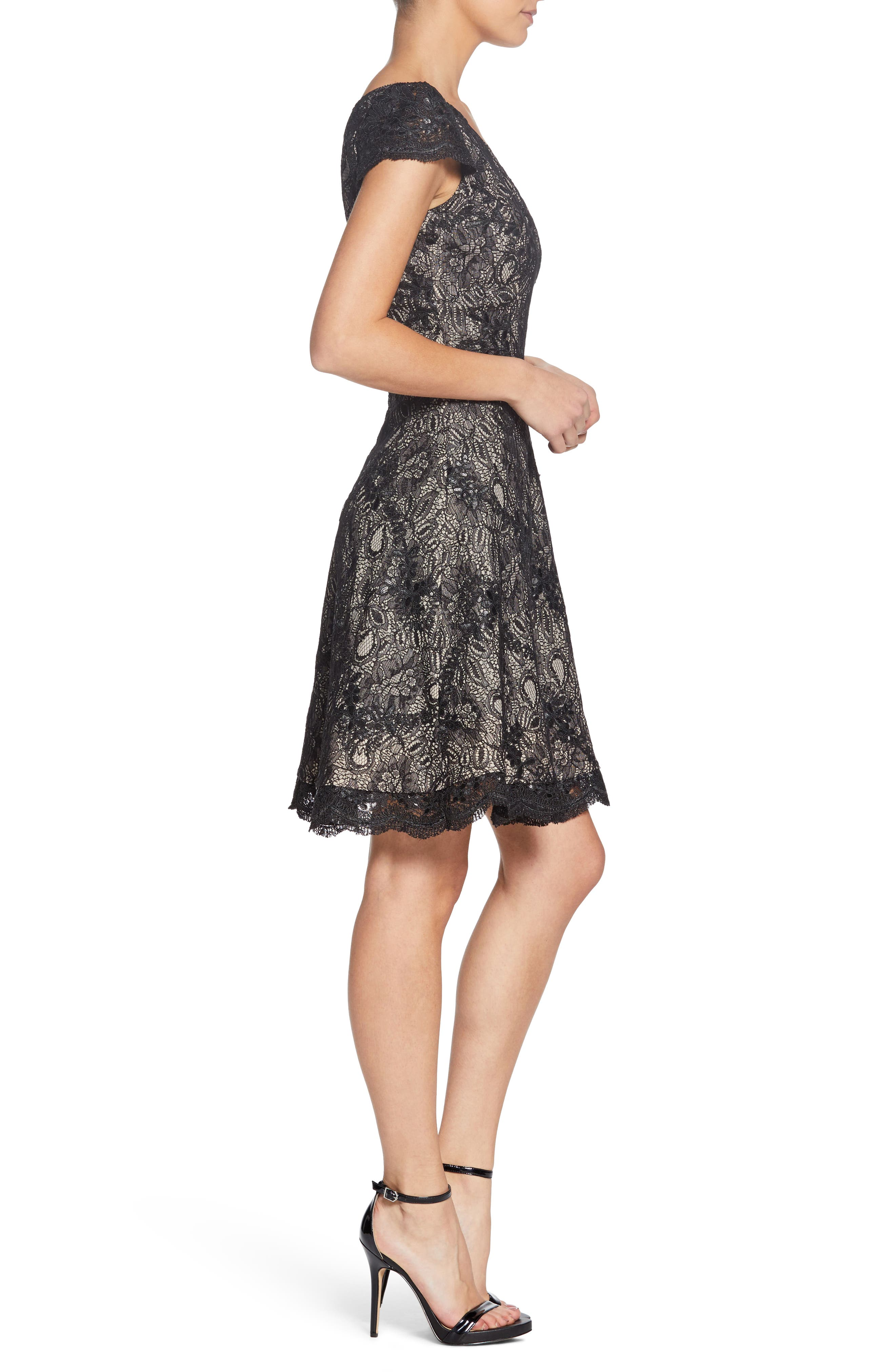 Alex One-Shoulder Cocktail Dress,                             Alternate thumbnail 3, color,                             BLACK/ NUDE