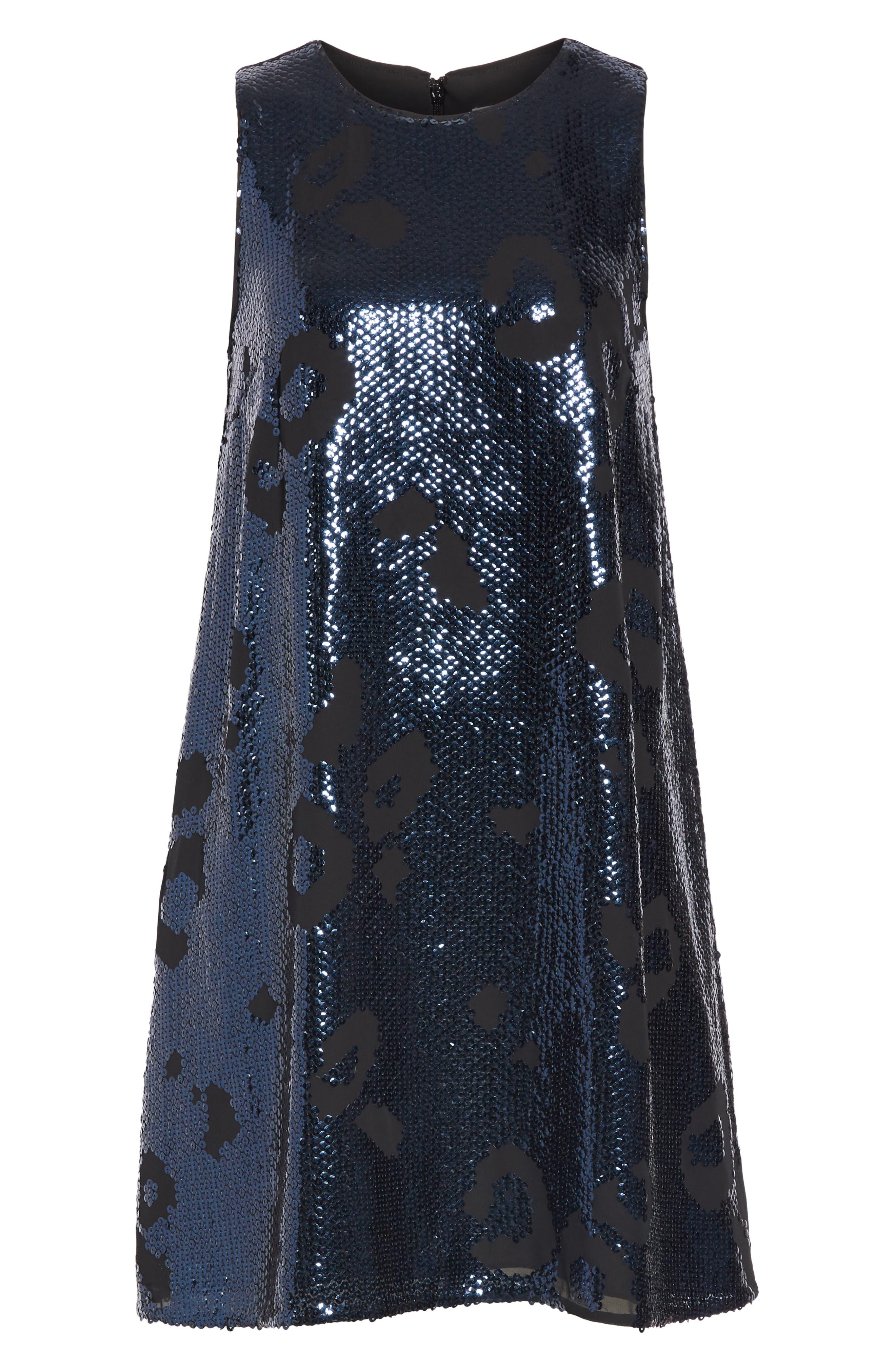 leopard sequin shift dress,                             Alternate thumbnail 6, color,                             LIGHT ADRIATIC BLUE