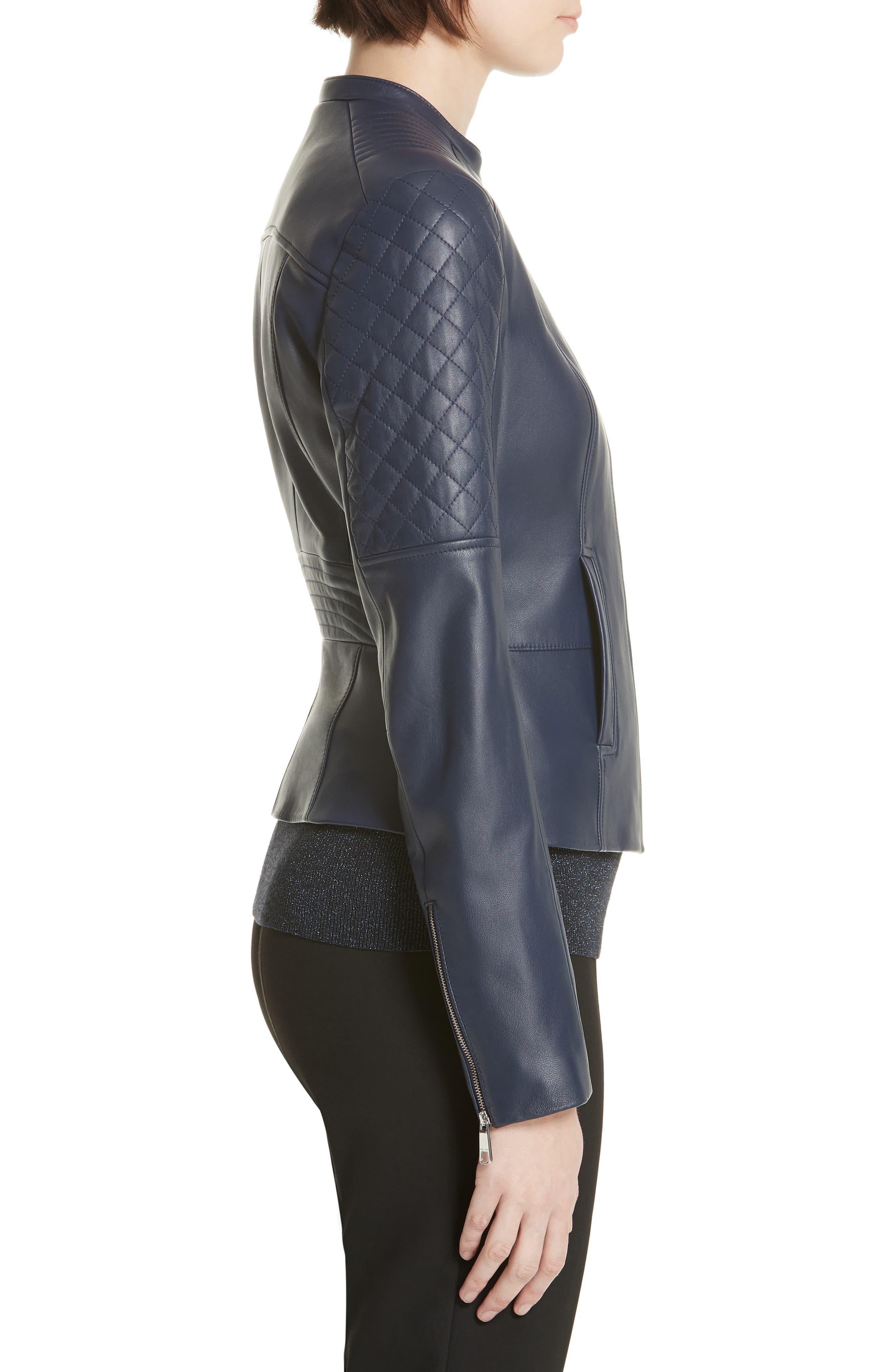 Sadeno Leather Moto Jacket,                             Alternate thumbnail 3, color,                             INK BLUE