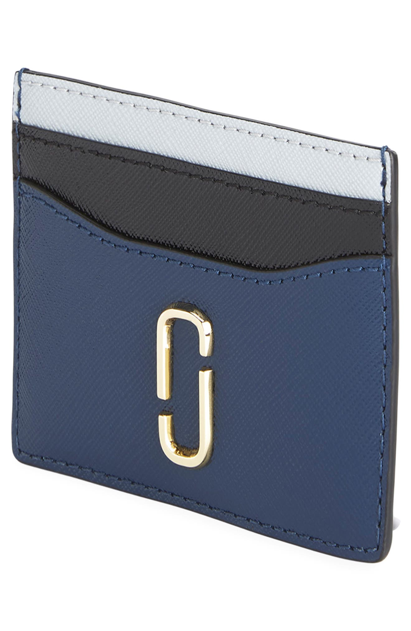 Snapshot Saffiano Leather Card Case,                             Alternate thumbnail 3, color,                             BLUE SEA MULTI