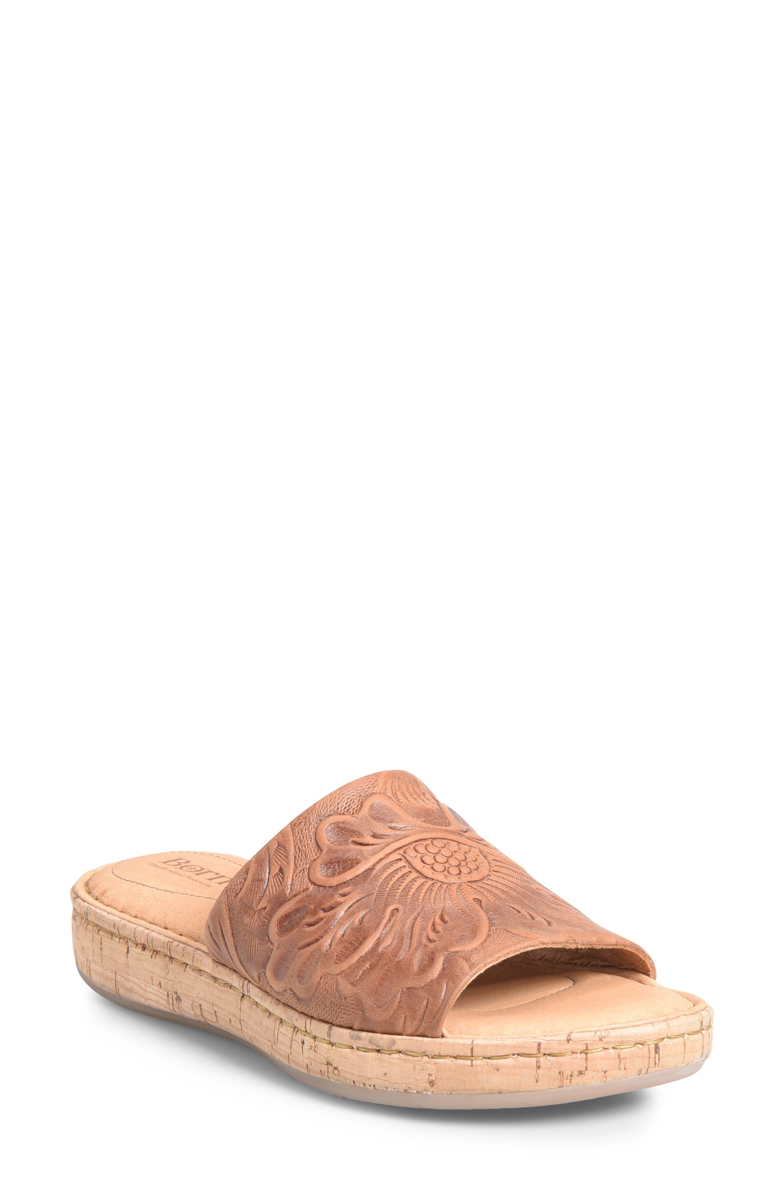 B?rn Fish Lake Tooled Slide Sandal, Brown