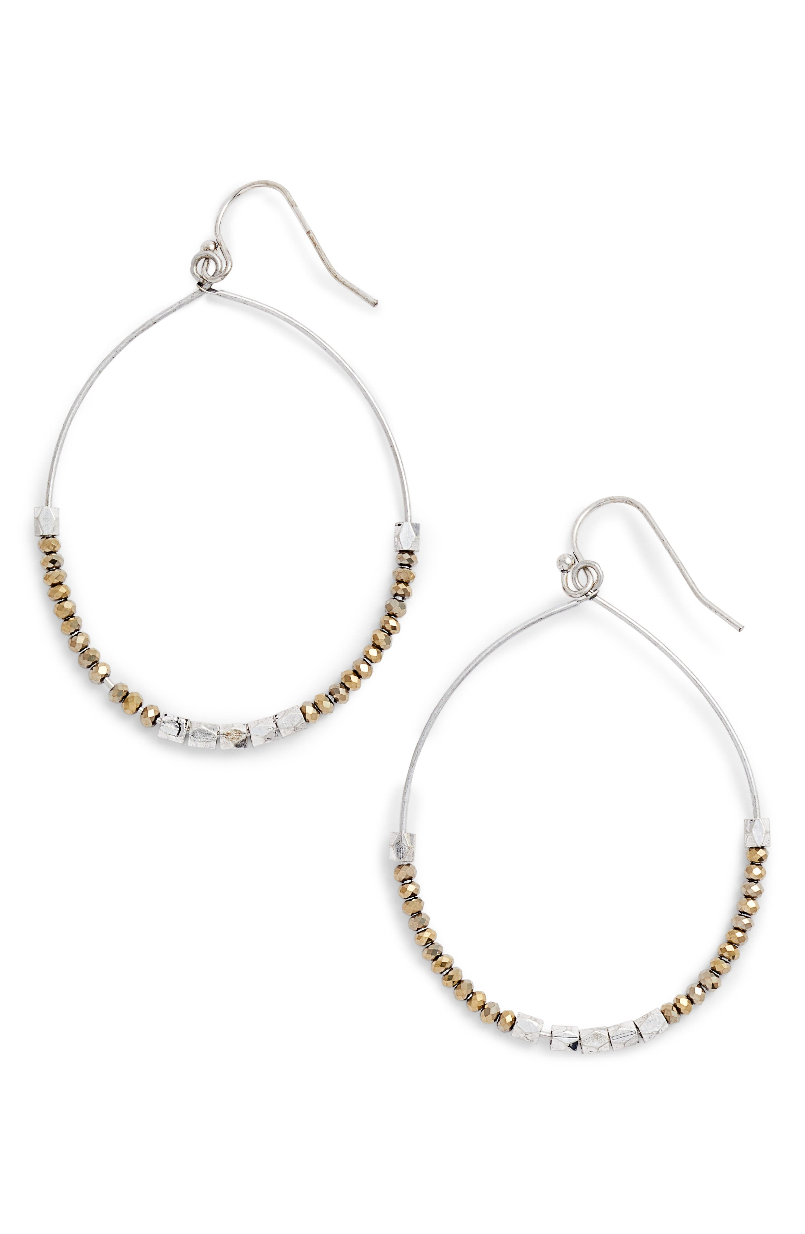 Fine Beaded Wire Hoops,                         Main,                         color, 041