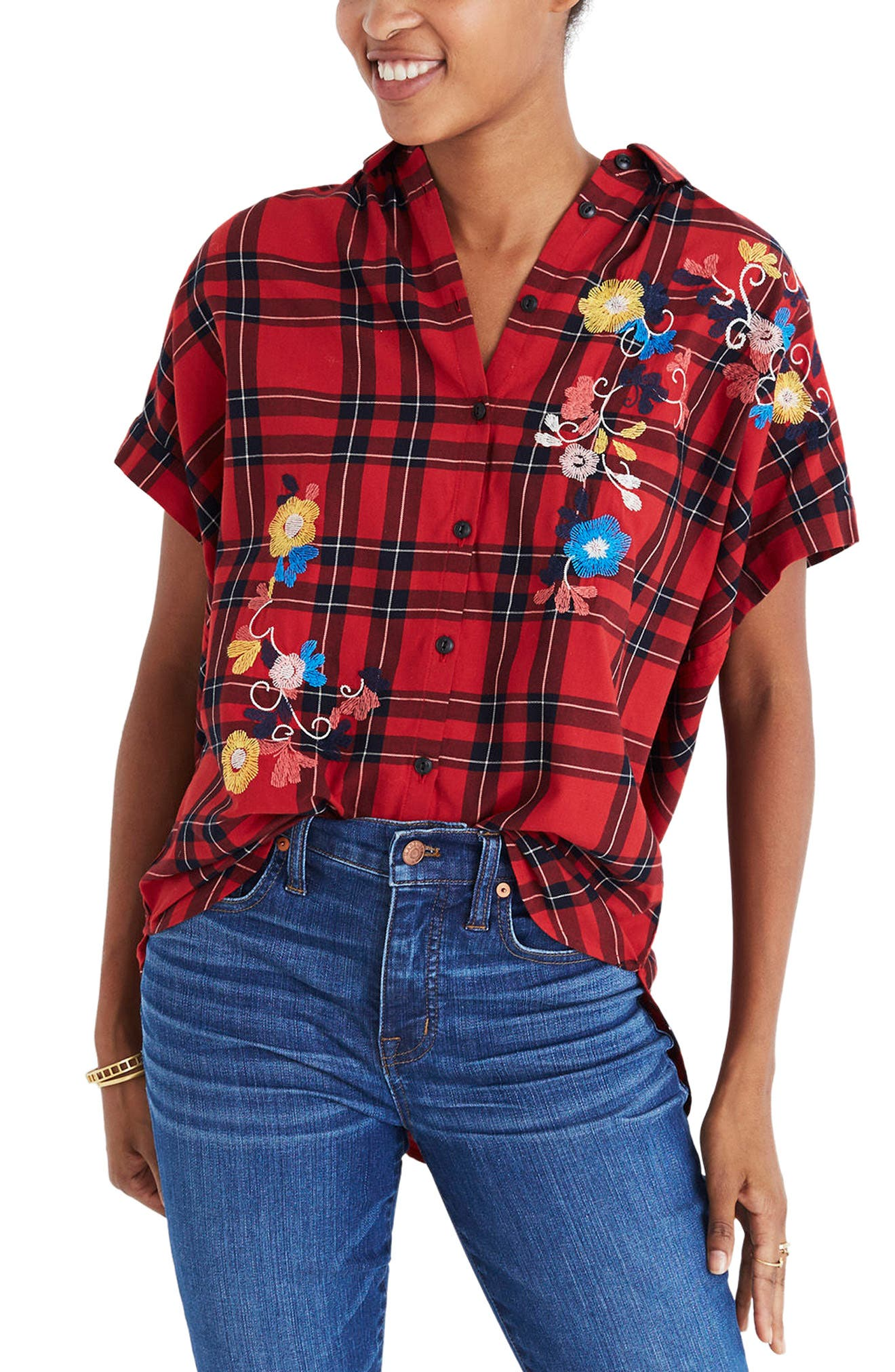 Central Embroidered Plaid Shirt,                             Main thumbnail 1, color,                             600