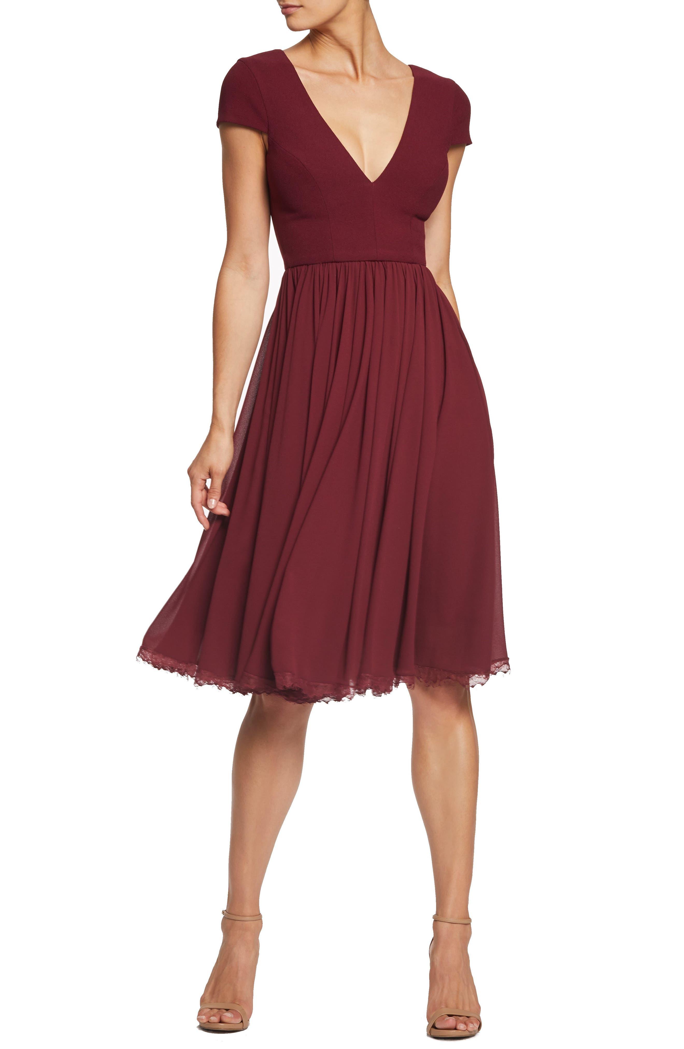 Dress The Population Corey Chiffon Fit & Flare Dress, Burgundy