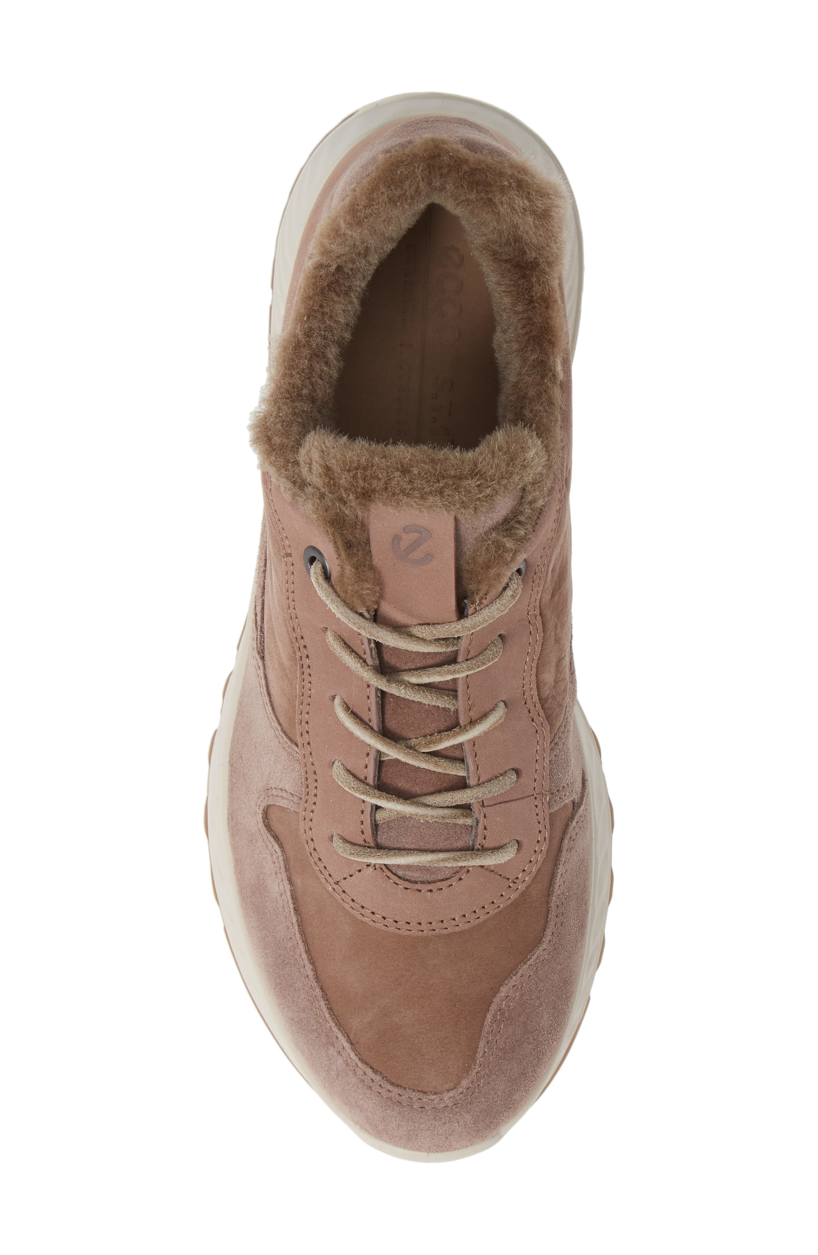 ST1 Genuine Shearling Sneaker,                             Alternate thumbnail 5, color,                             DEEP TAUPE NUBUCK LEATHER