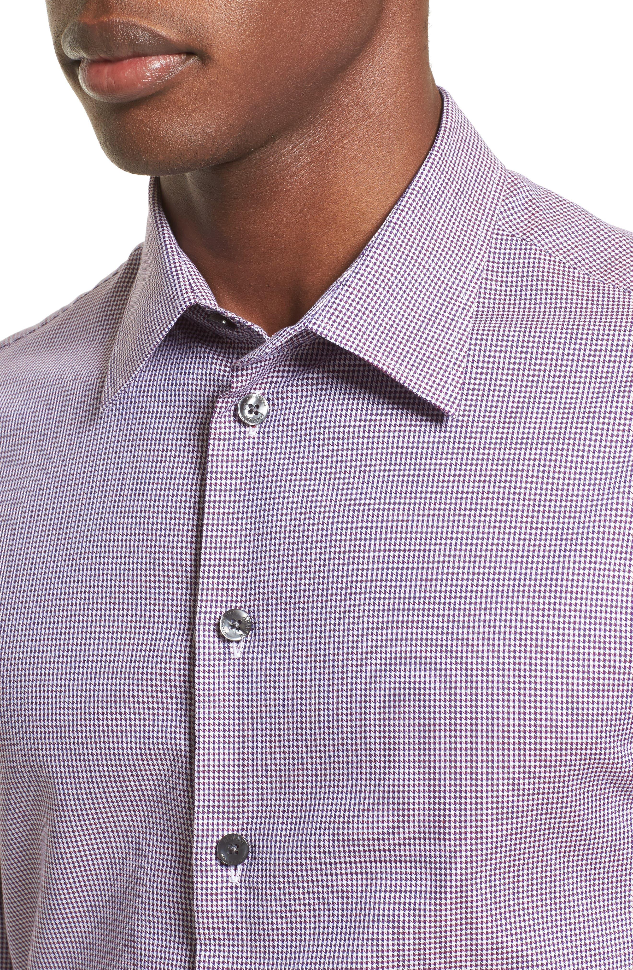 Regular Fit Houndstooth Sport Shirt,                             Alternate thumbnail 4, color,                             020