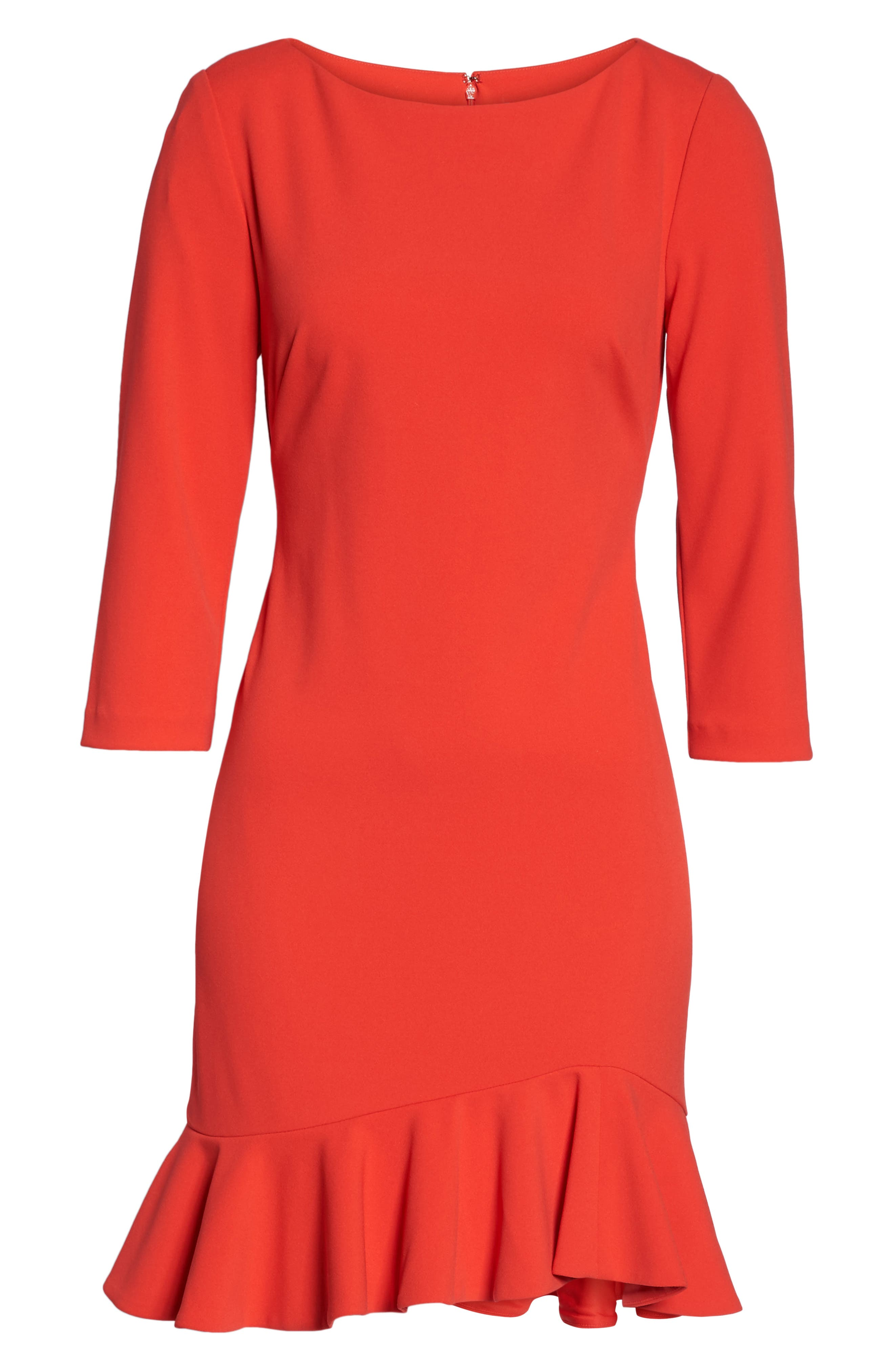 Crepe Ruffle Hem Body-Con Dress,                             Alternate thumbnail 12, color,