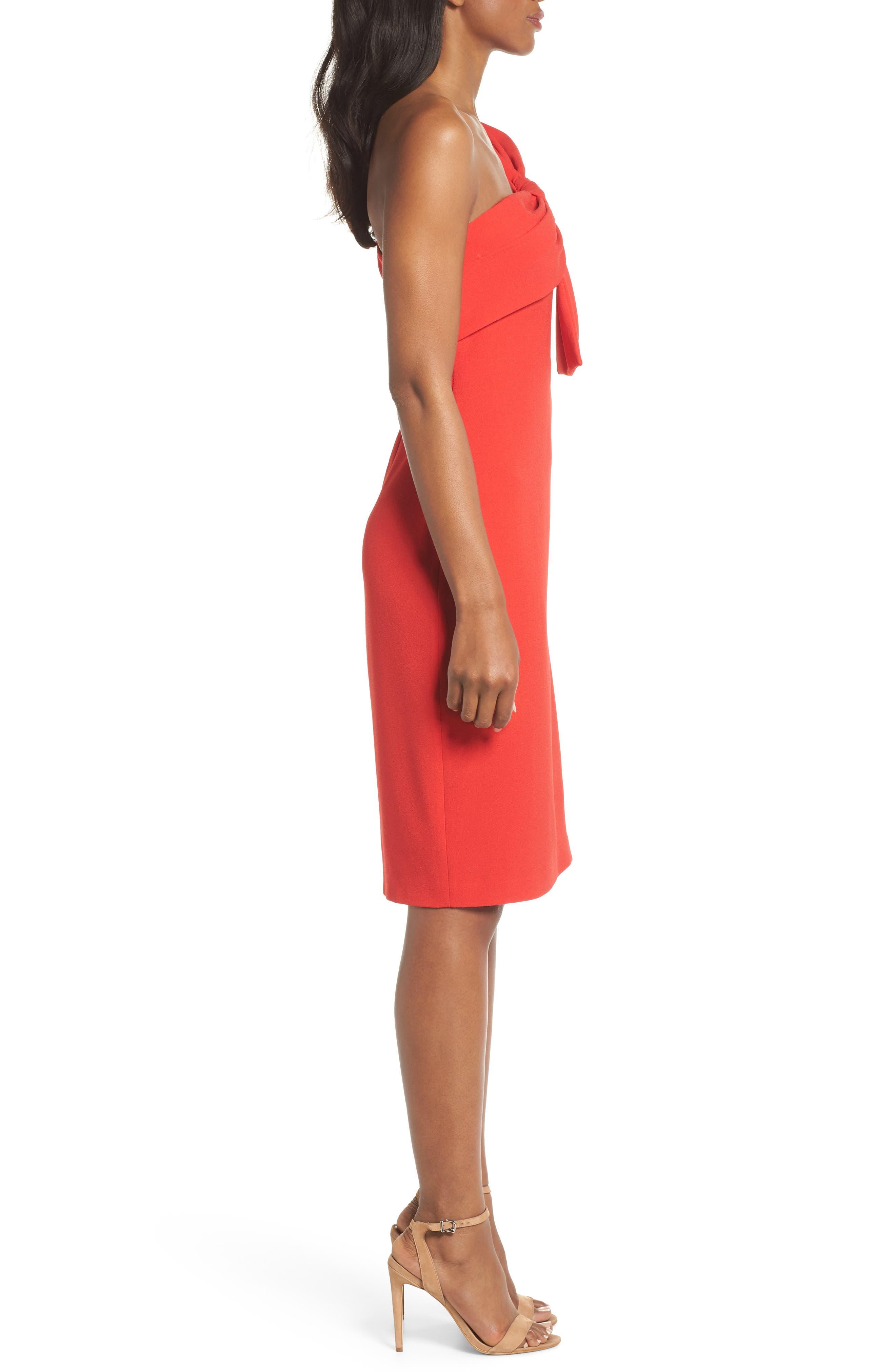 One-Shoulder Twist Front Sheath Dress,                             Alternate thumbnail 3, color,                             RED