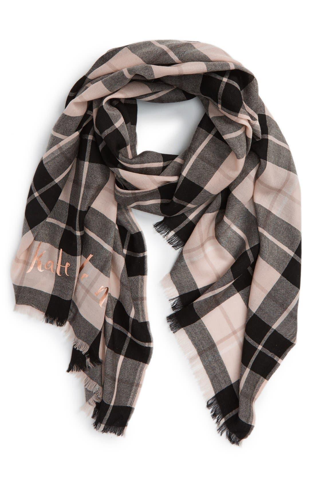 'woodland plaid' wool scarf,                             Main thumbnail 1, color,                             250