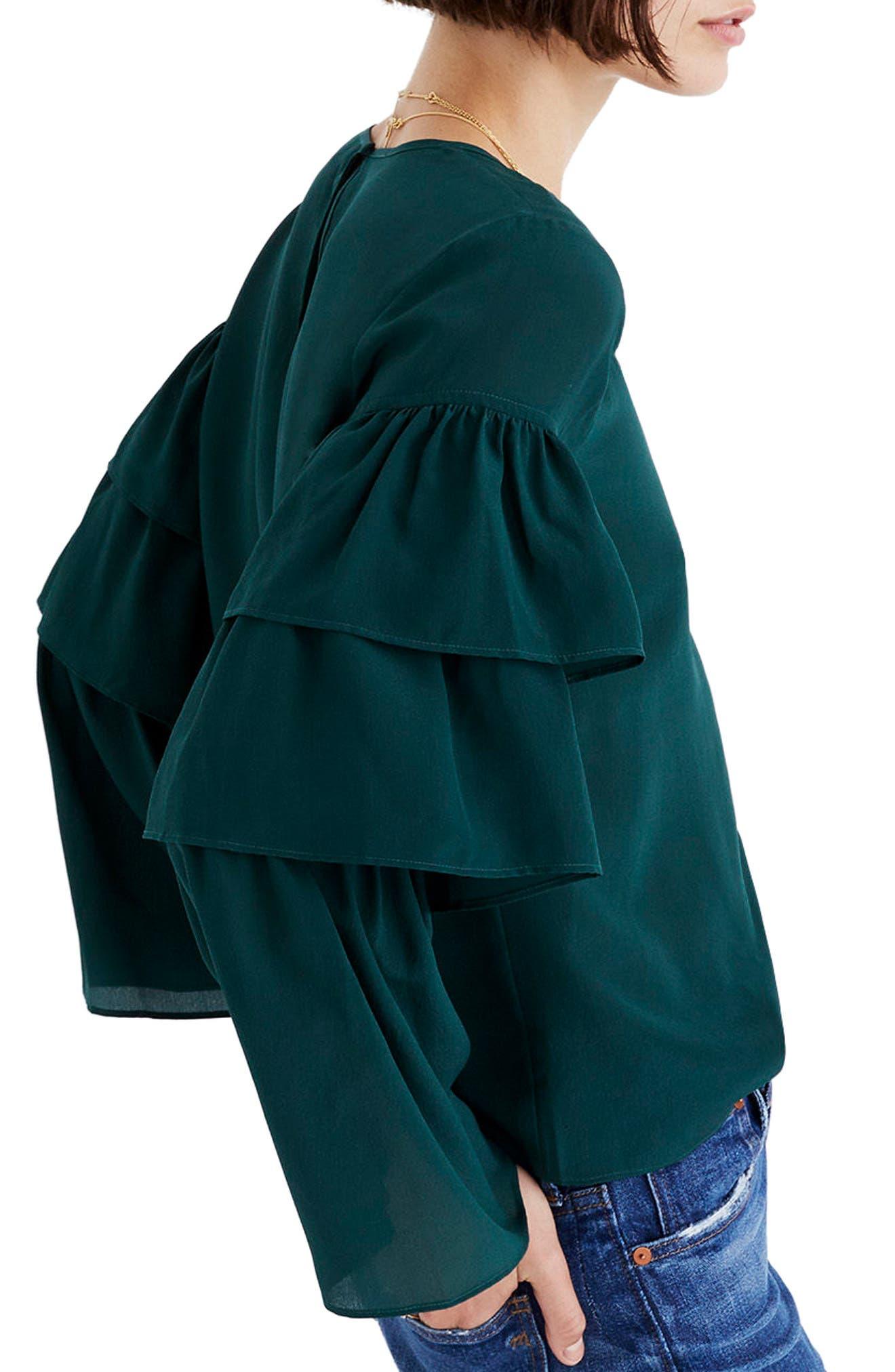 Ruffle Sleeve Silk Top,                             Alternate thumbnail 2, color,                             390