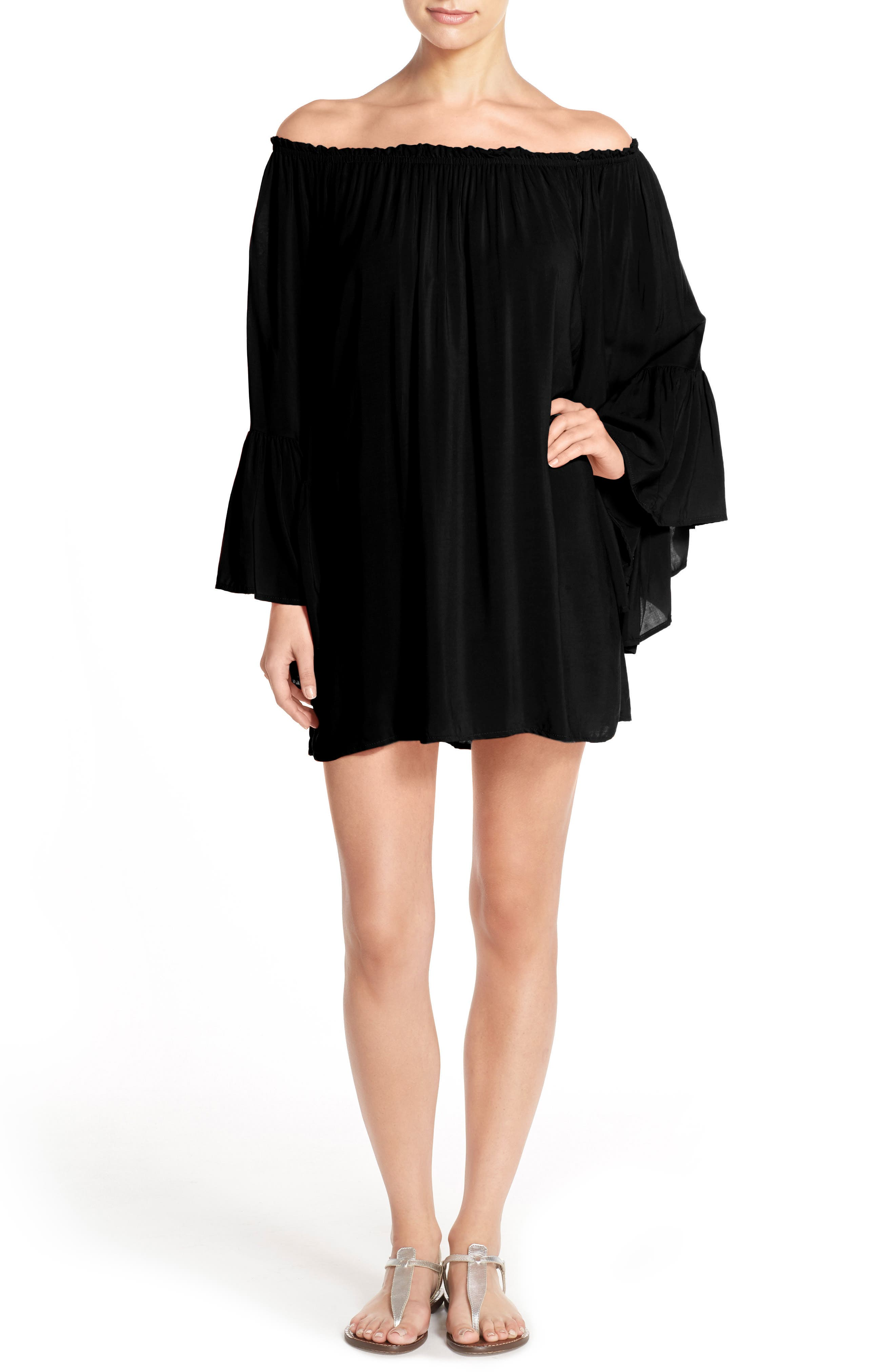 Bell Sleeve Cover-Up Tunic Dress,                             Main thumbnail 2, color,
