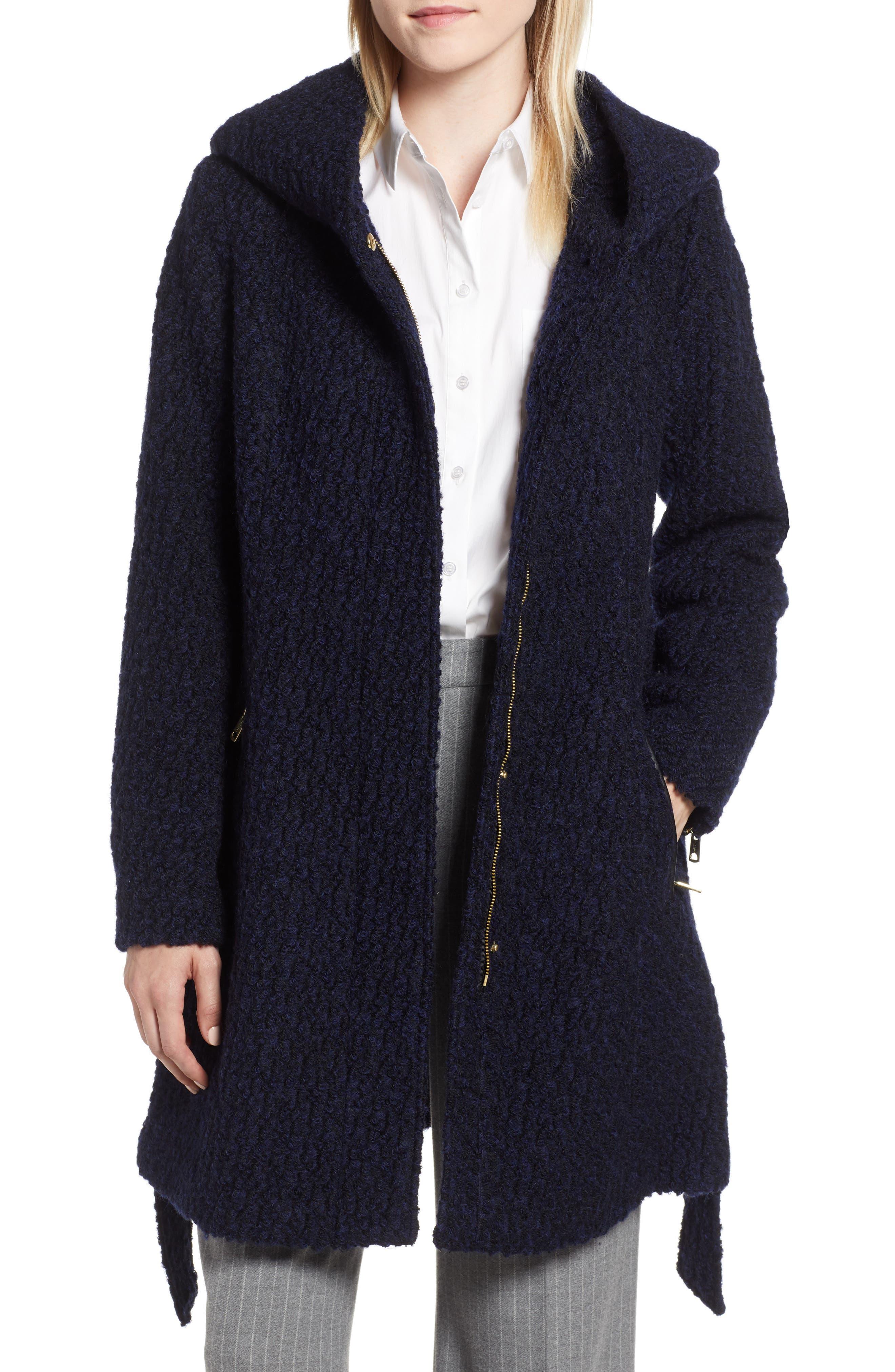 Belted Bouclé Wool Blend Coat,                             Main thumbnail 1, color,                             BLACK/ NAVY