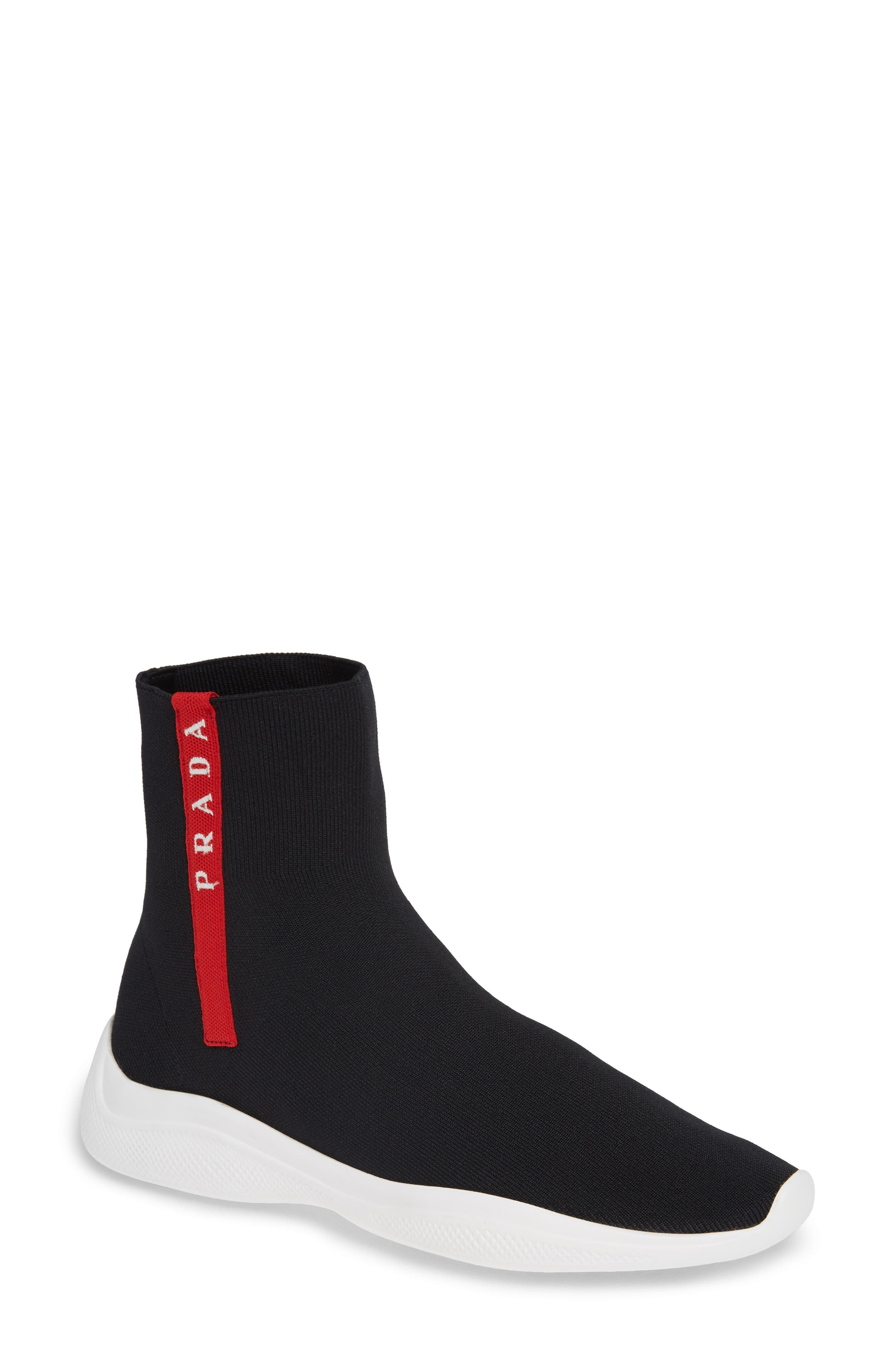 Logo Band Sock Sneaker,                             Main thumbnail 1, color,                             BLACK