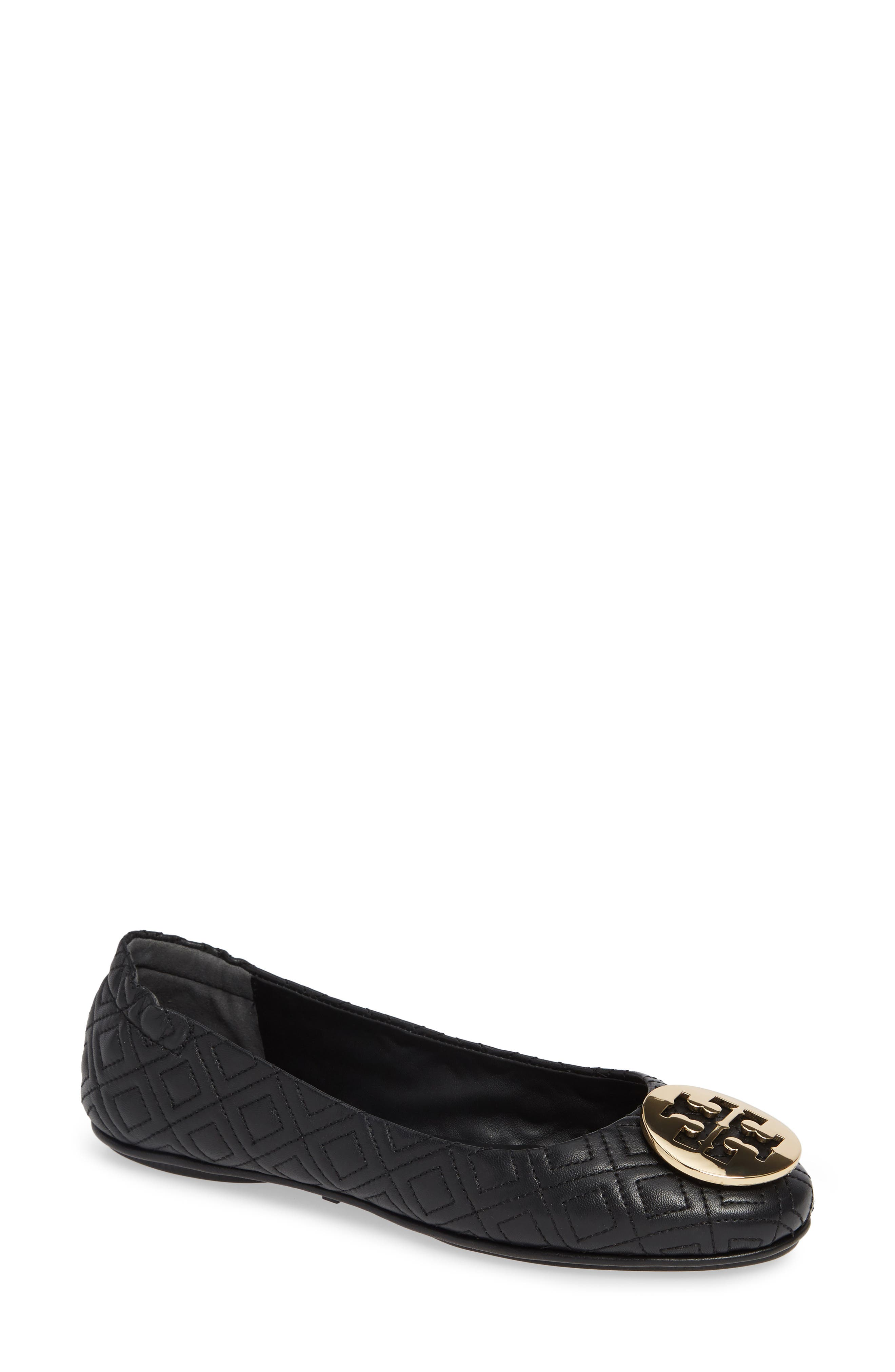 Quilted Minnie Flat,                         Main,                         color, BLACK/ GOLD
