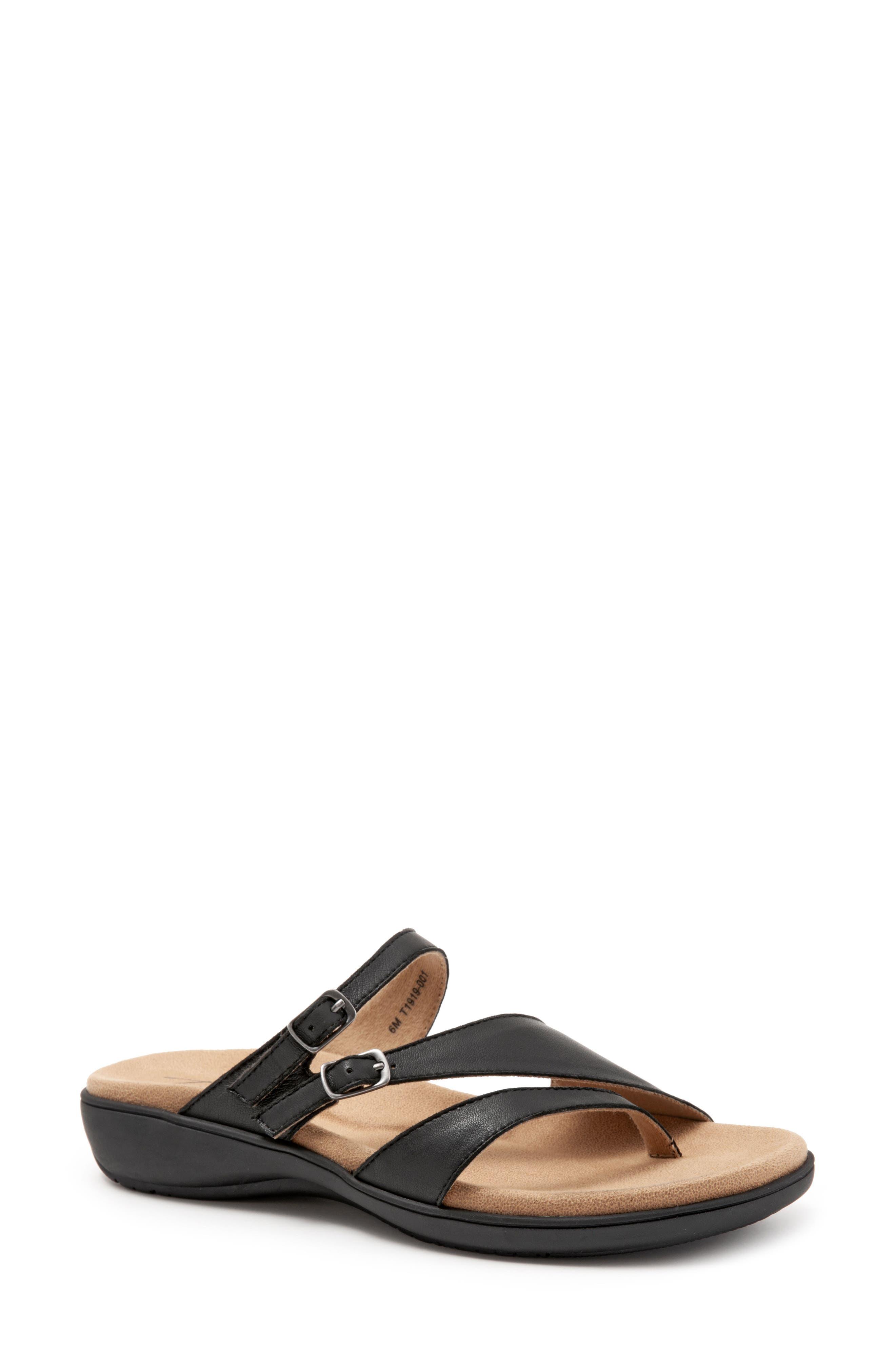 TROTTERS Vanna Slide Sandal, Main, color, BLACK LEATHER