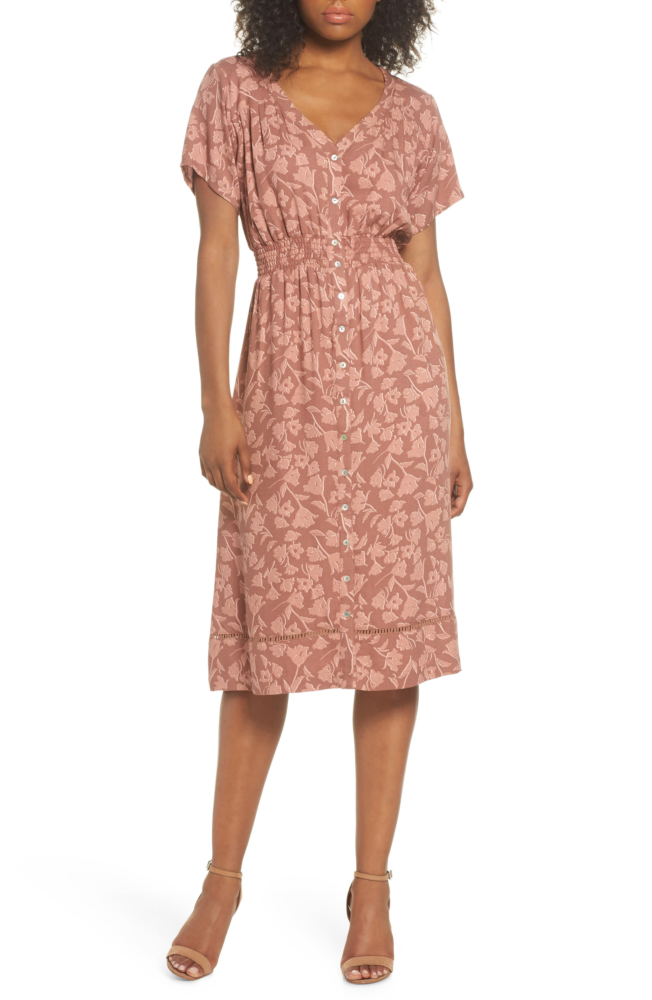 Farrell Floral Smock Waist Dress,                             Main thumbnail 1, color,
