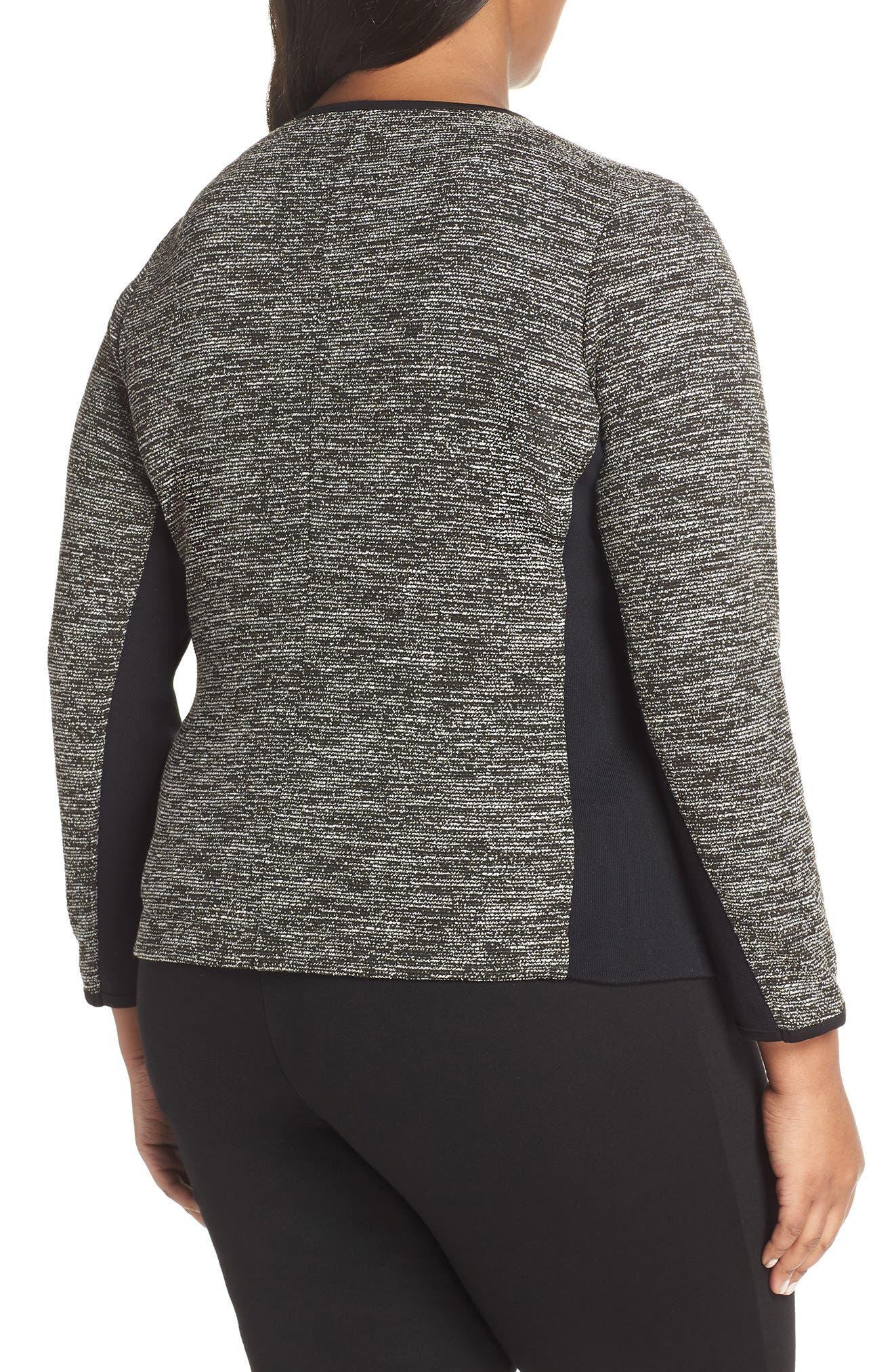 Mix Media Knit Jacket,                             Alternate thumbnail 2, color,                             BLACK TWEED