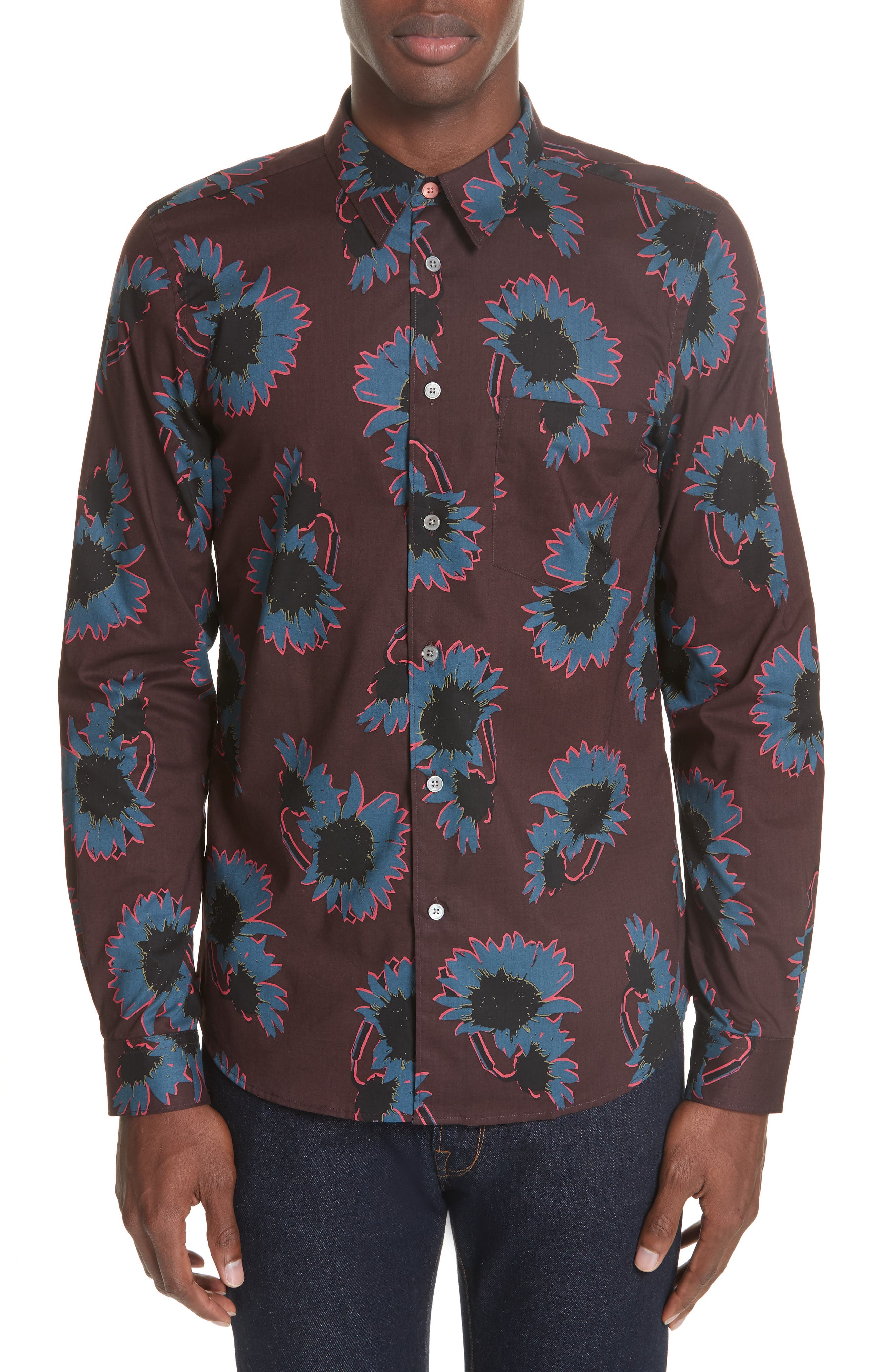 Flower Print Woven Shirt,                         Main,                         color, BLUE