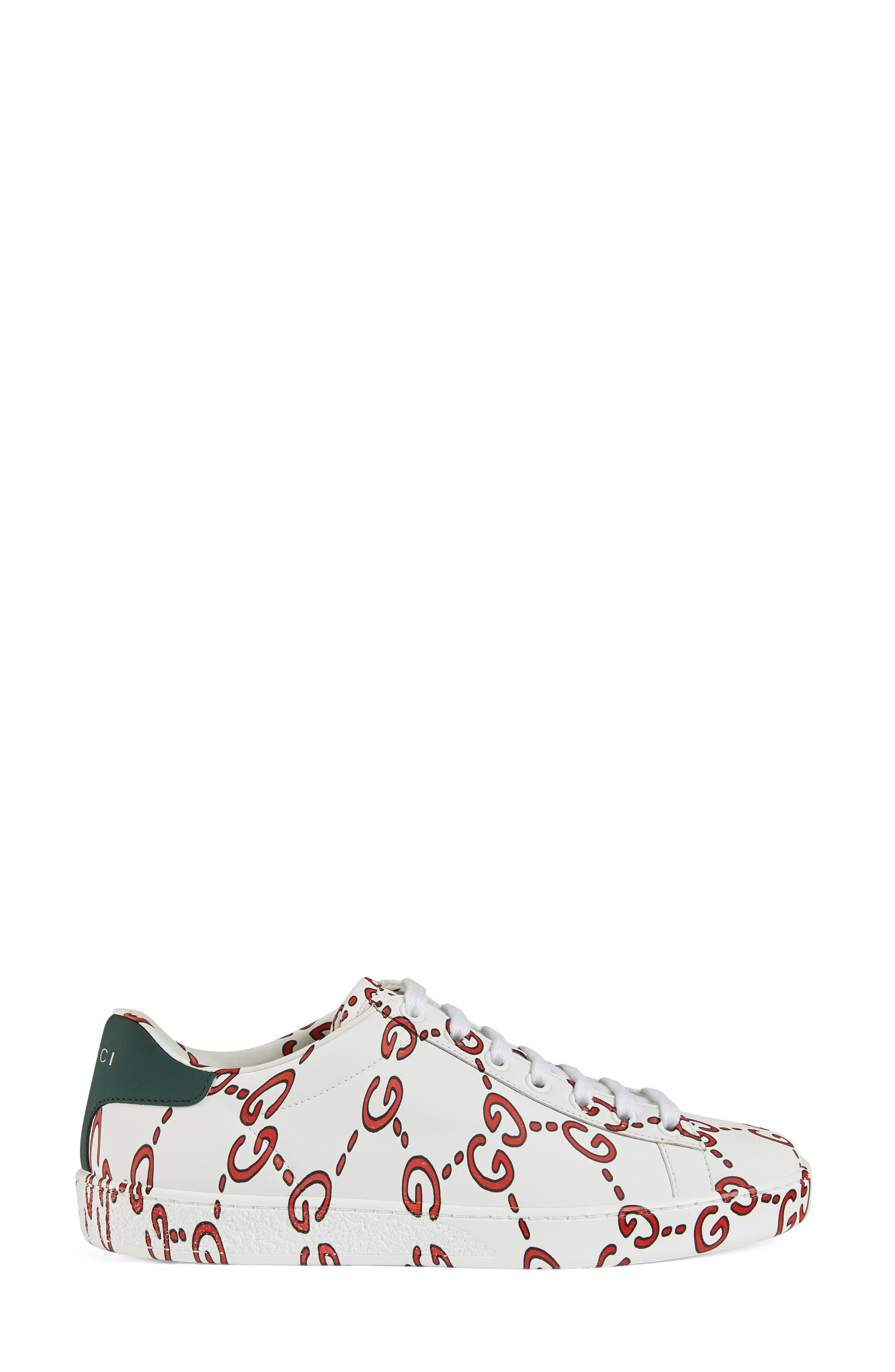 New Ace GG Supreme Logo Sneaker,                             Alternate thumbnail 2, color,                             WHITE/ HIBISCUS RED