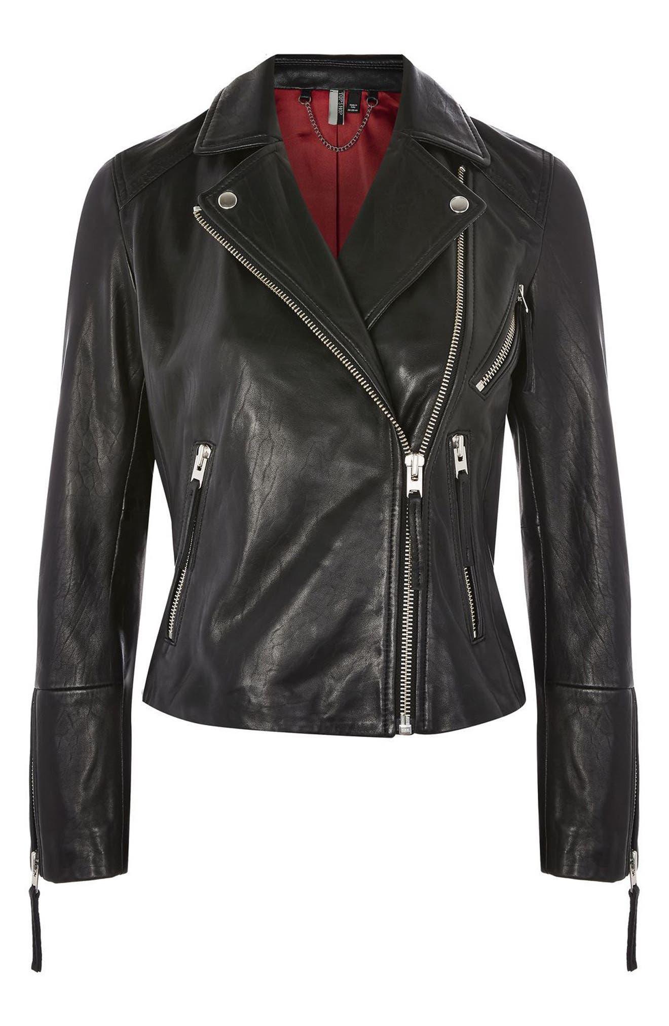 Rosemary Leather Biker Jacket,                             Alternate thumbnail 2, color,                             001