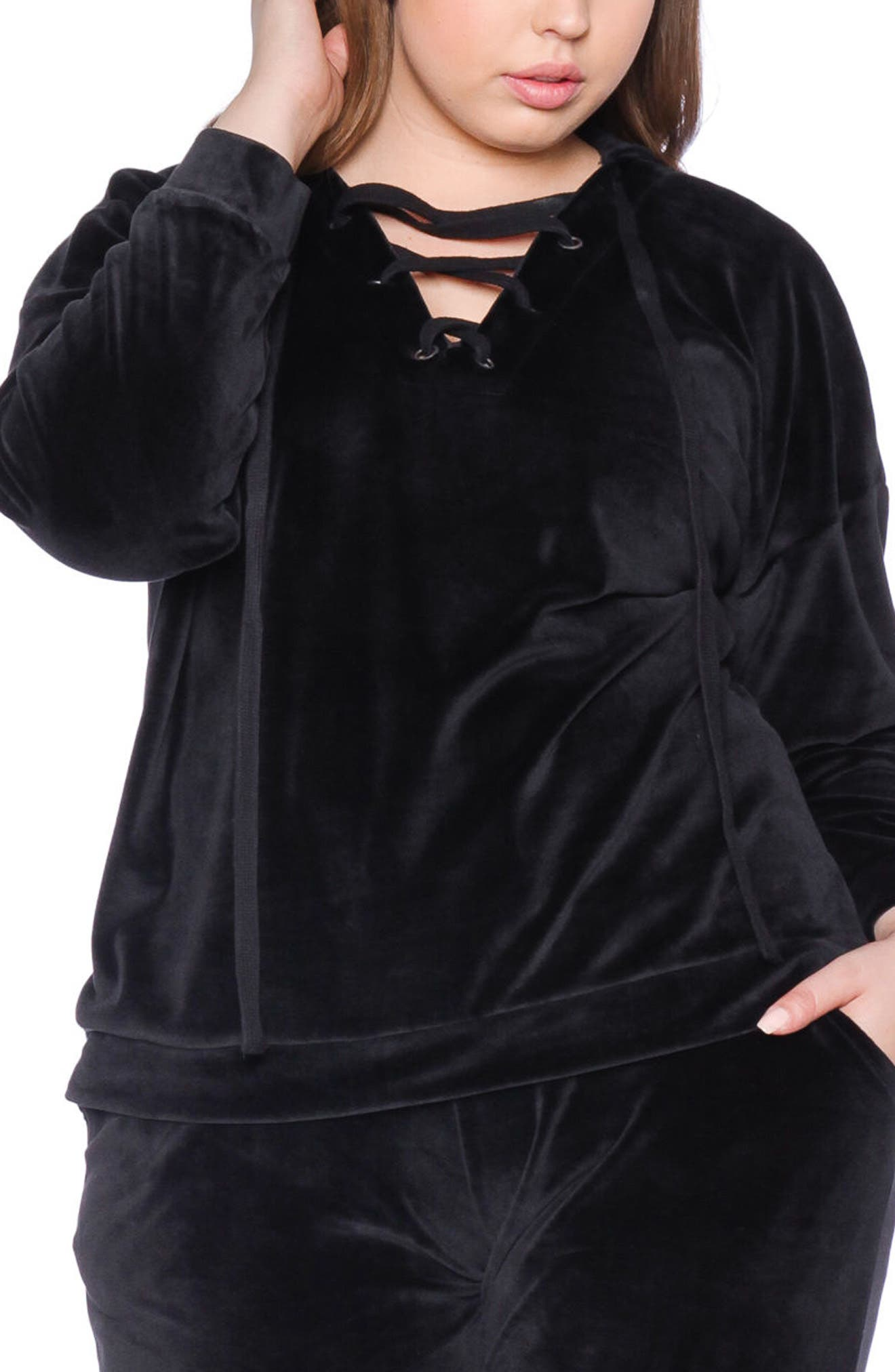 Lace-Up Velour Hoodie,                         Main,                         color, JET BLACK