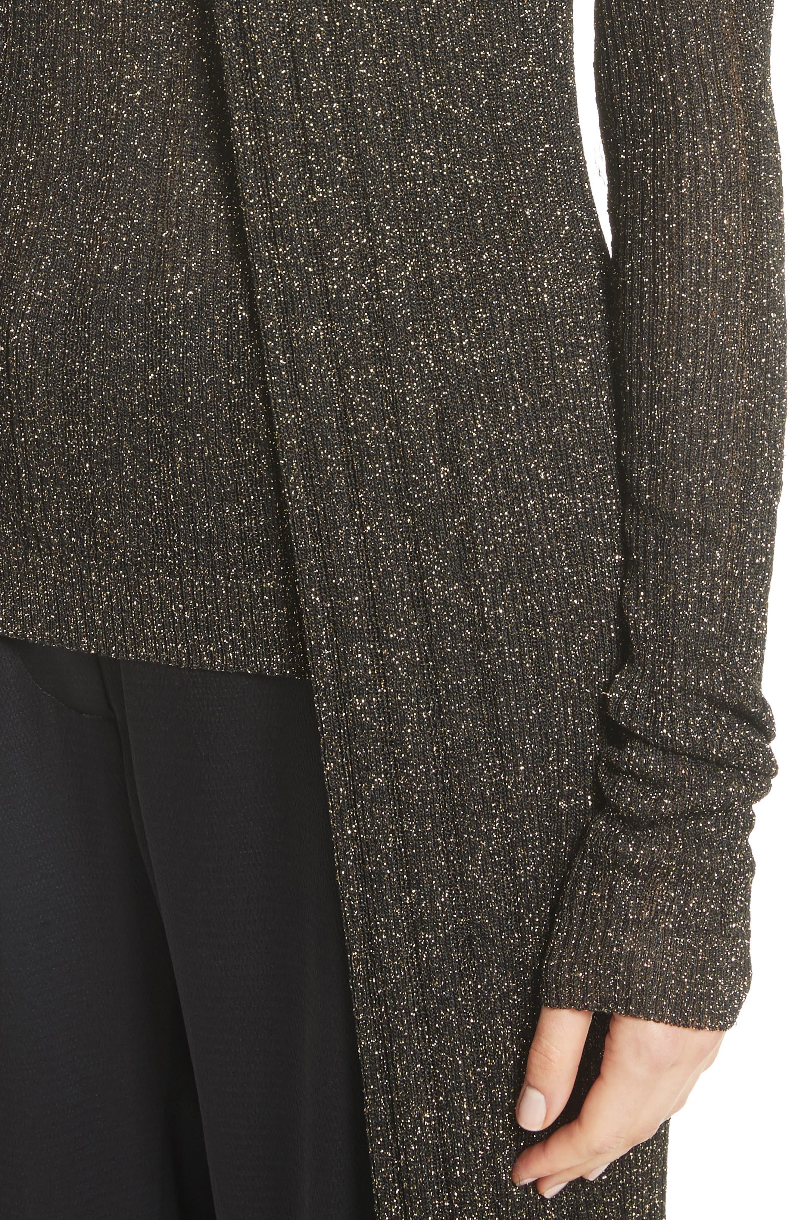 LaSalle Metallic Knit Long Cardigan,                             Alternate thumbnail 4, color,                             011