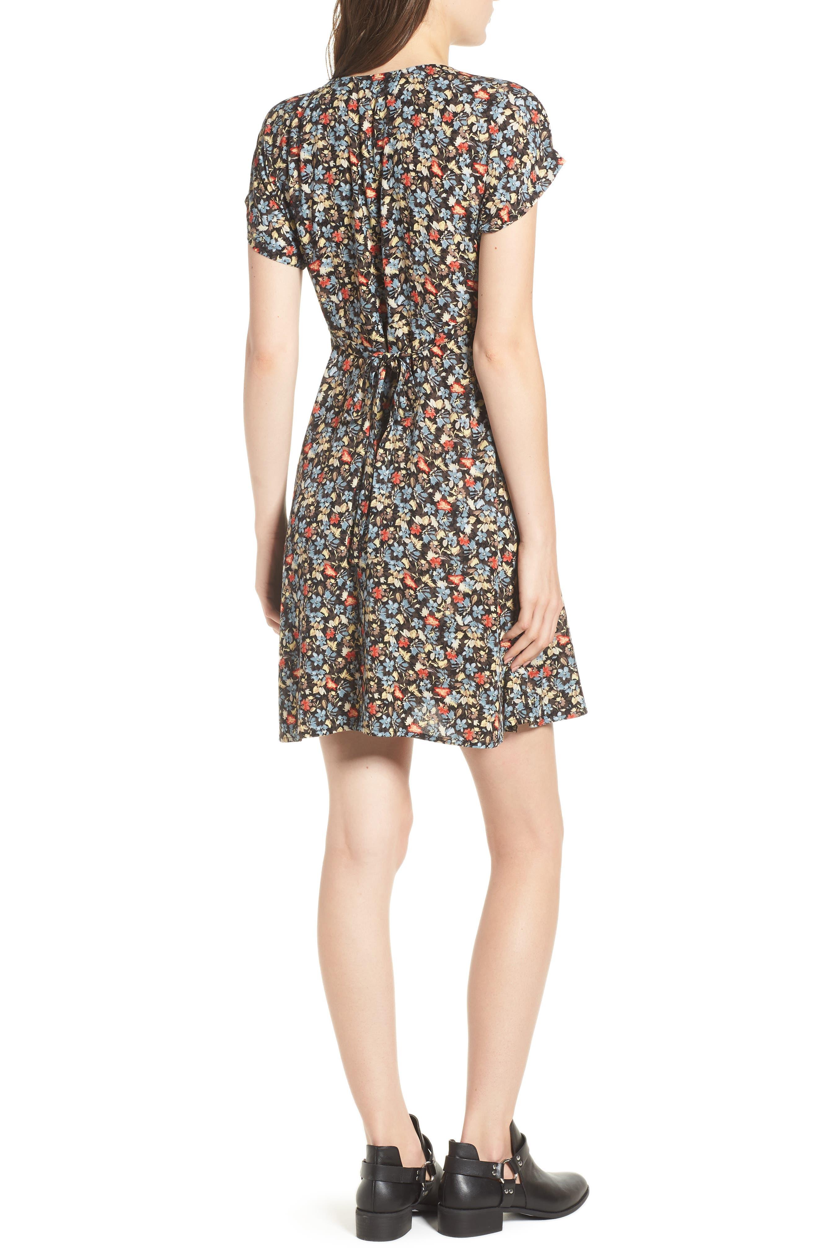 Floral Print Button Front Dress,                             Alternate thumbnail 2, color,                             BLACK GROUND FLORAL
