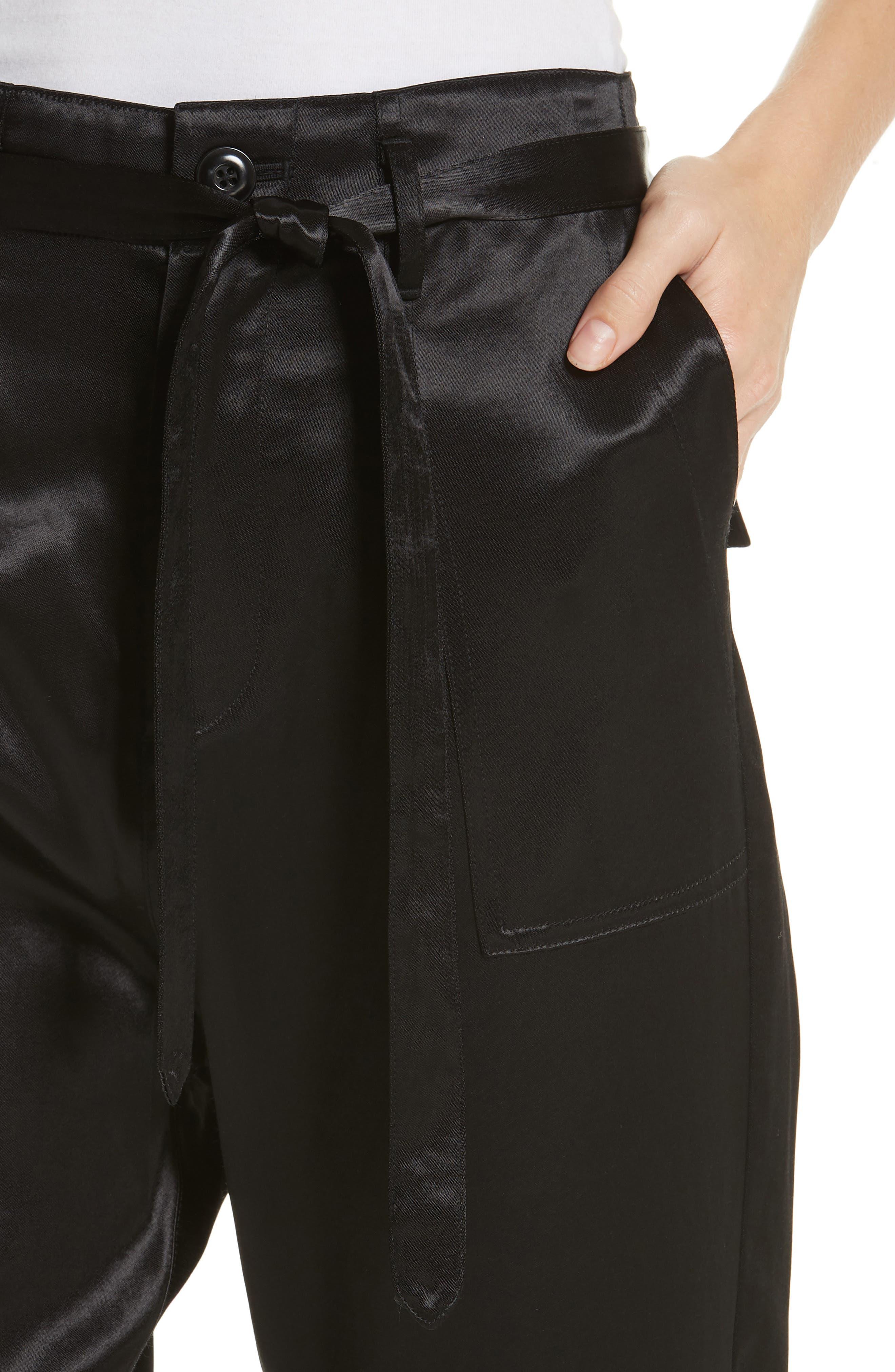 The Satin Trousers,                             Alternate thumbnail 4, color,                             BLACK