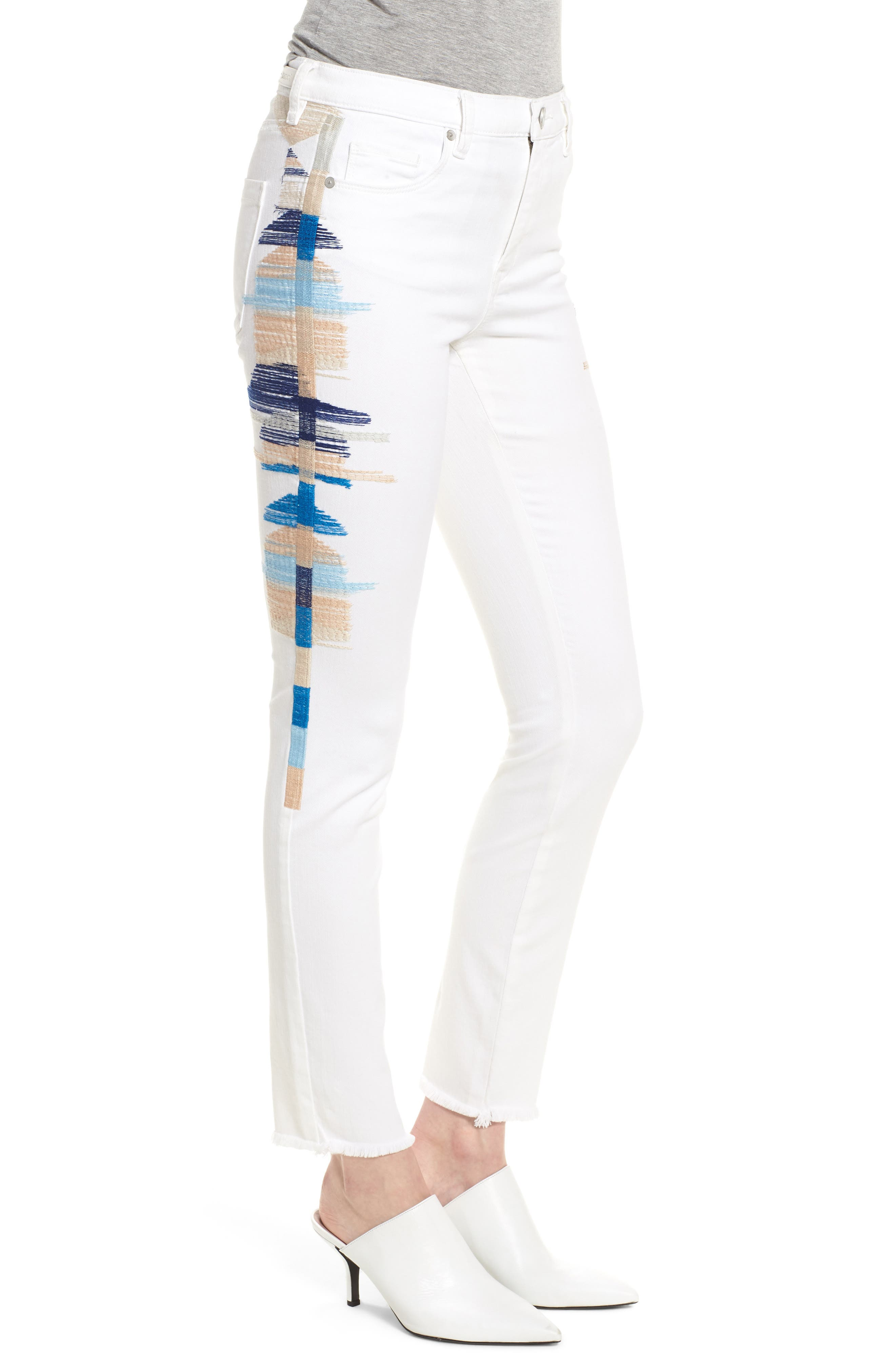 Bond Embroidered Skinny Jeans,                             Alternate thumbnail 3, color,                             110