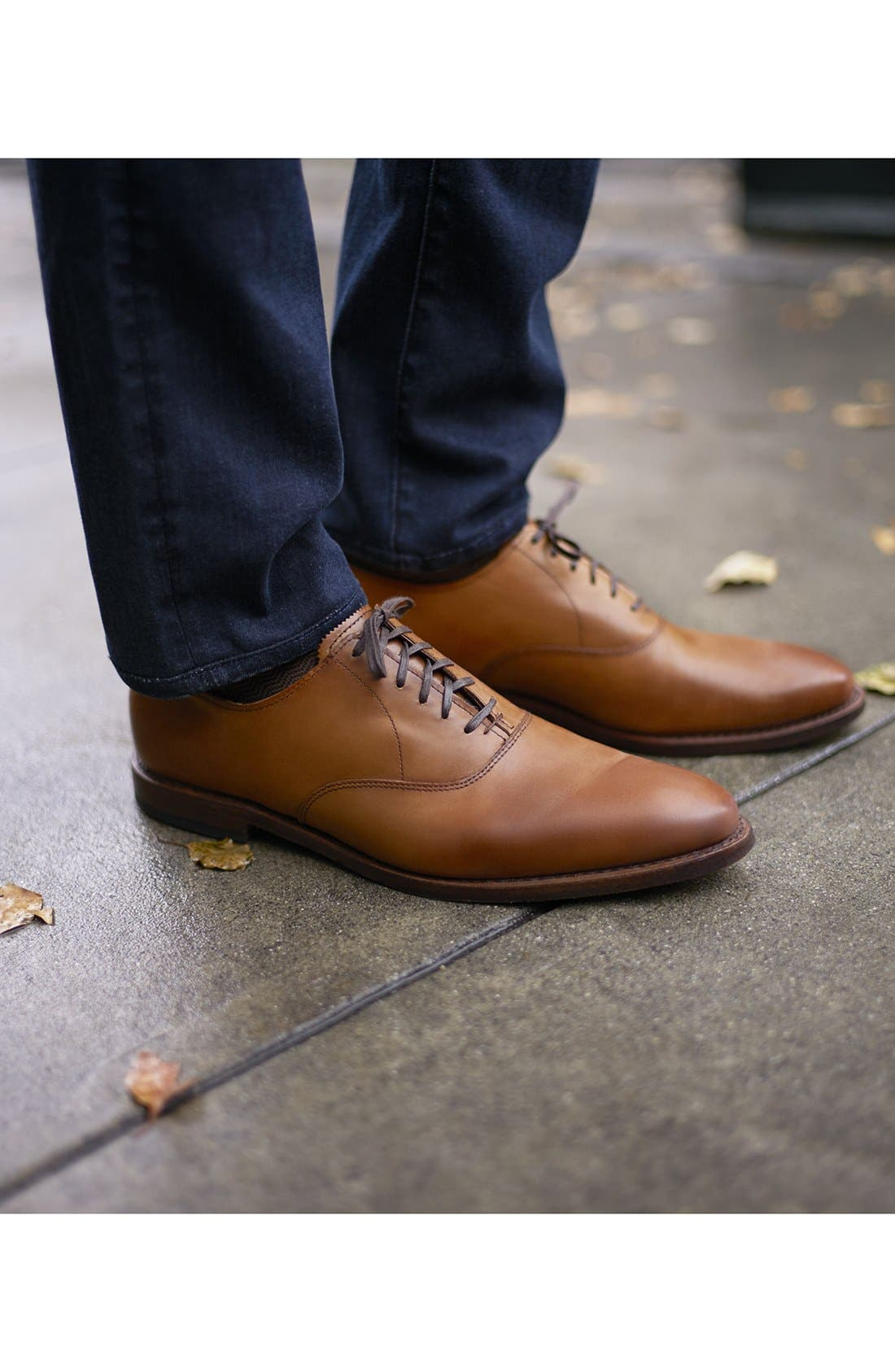 Carlyle Plain Toe Oxford,                             Alternate thumbnail 6, color,                             WALNUT LEATHER