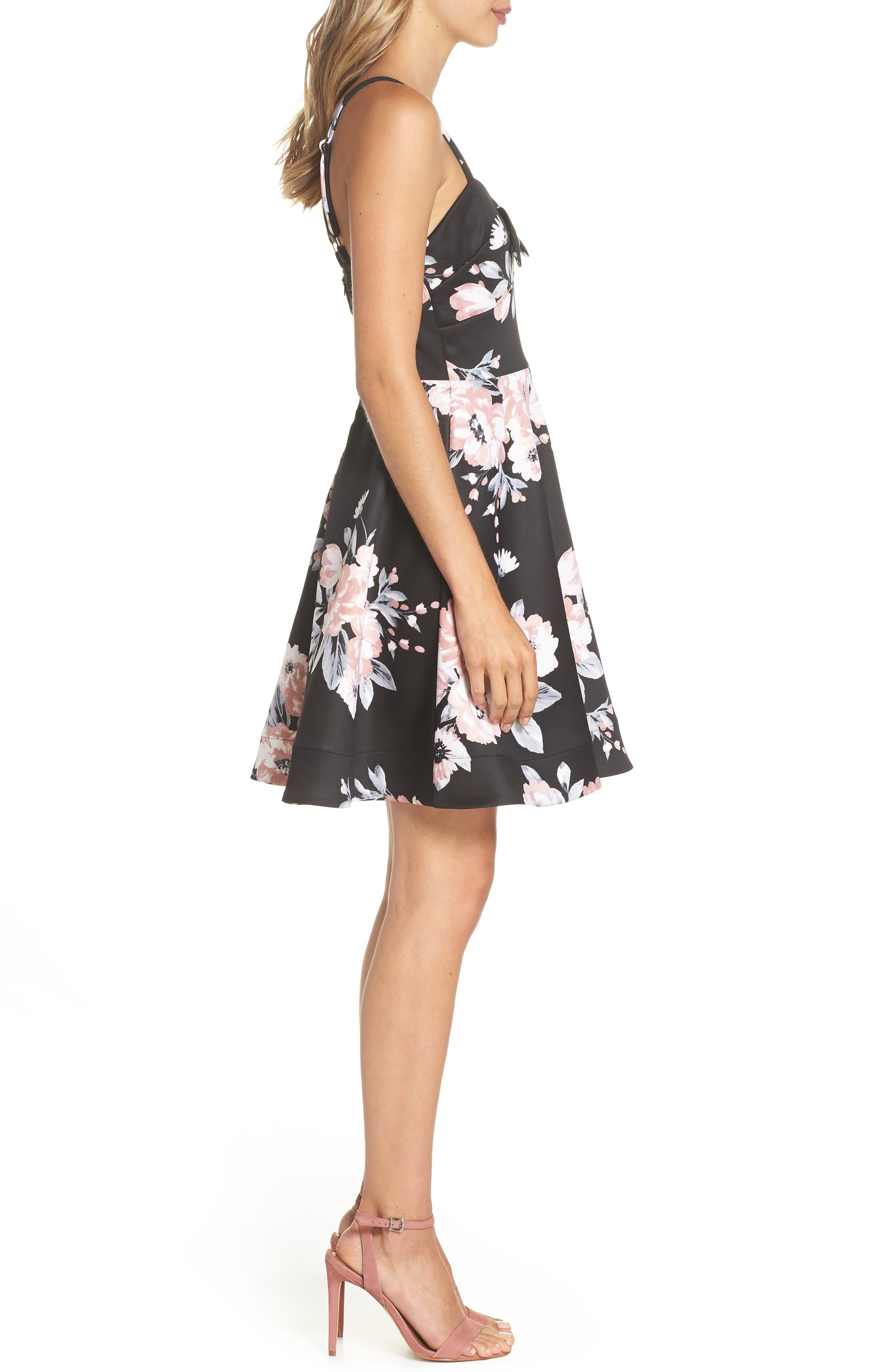 Floral Print Fit & Flare Dress,                             Alternate thumbnail 3, color,                             BLACK/ MAUVE