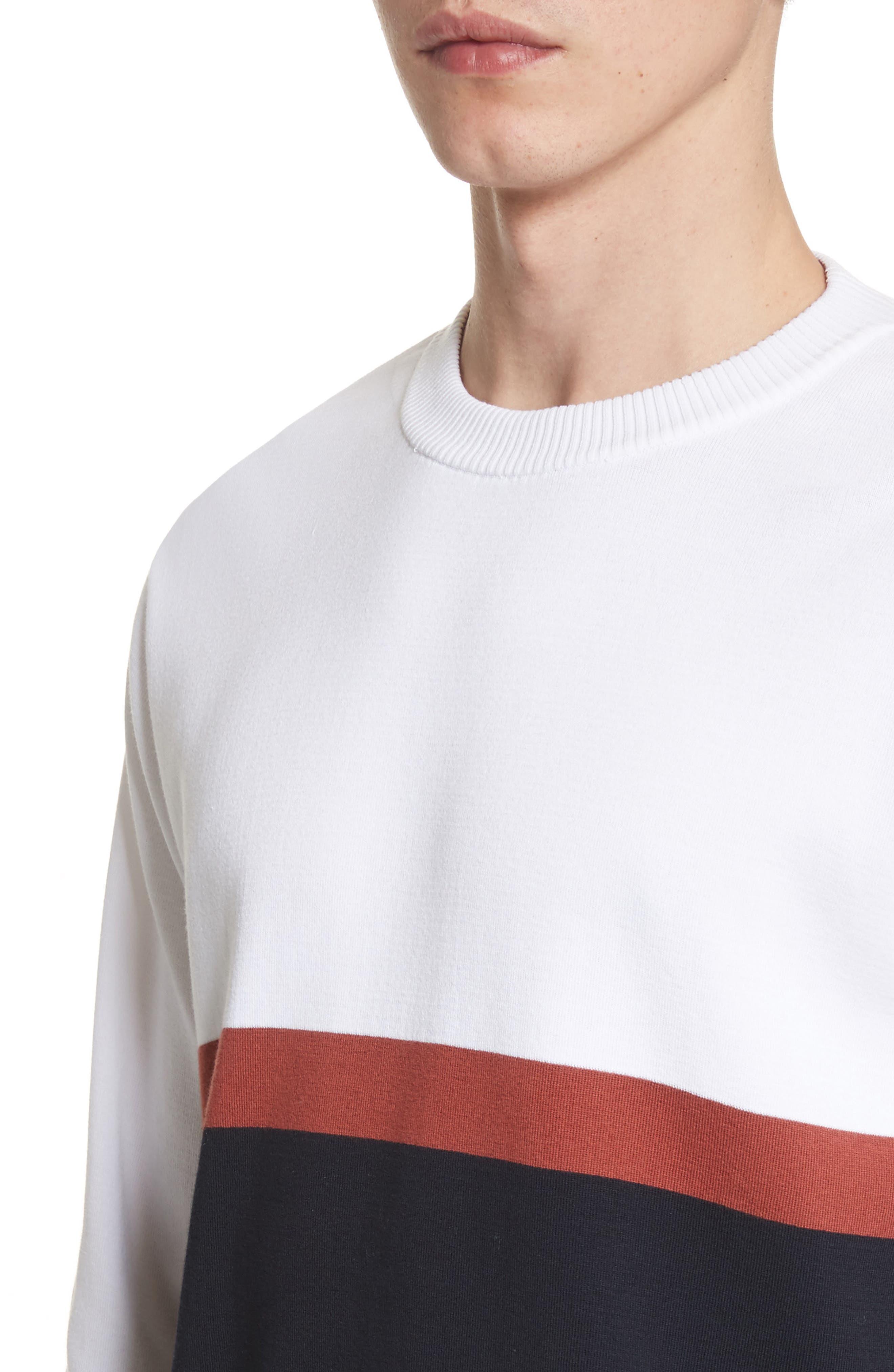 Colorblock Crewneck Sweater,                             Alternate thumbnail 4, color,                             100