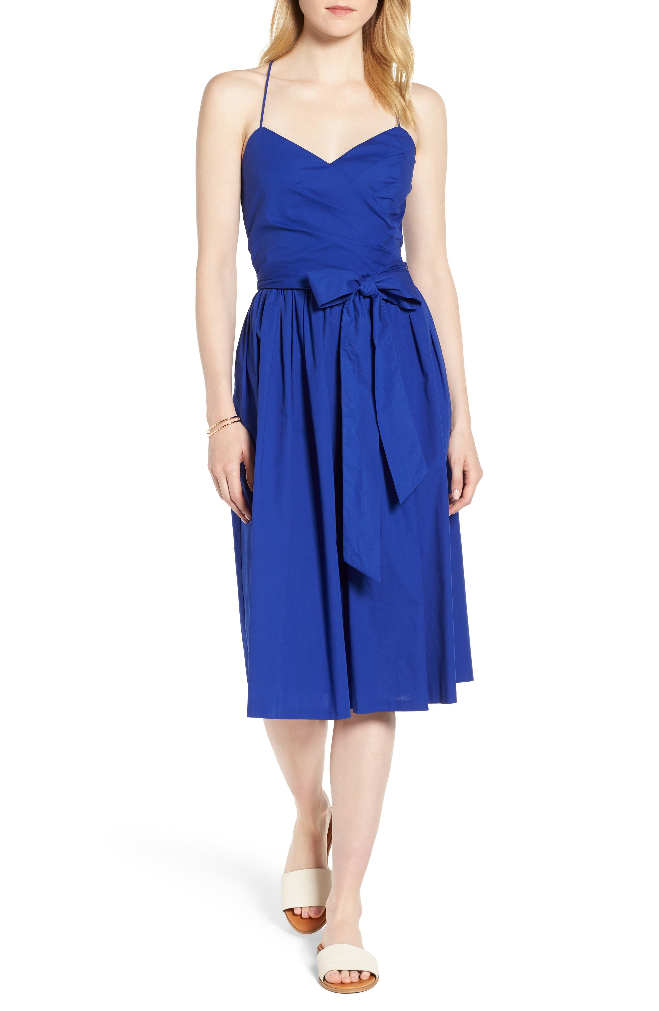 Strappy Fit & Flare Midi Dress,                             Main thumbnail 2, color,