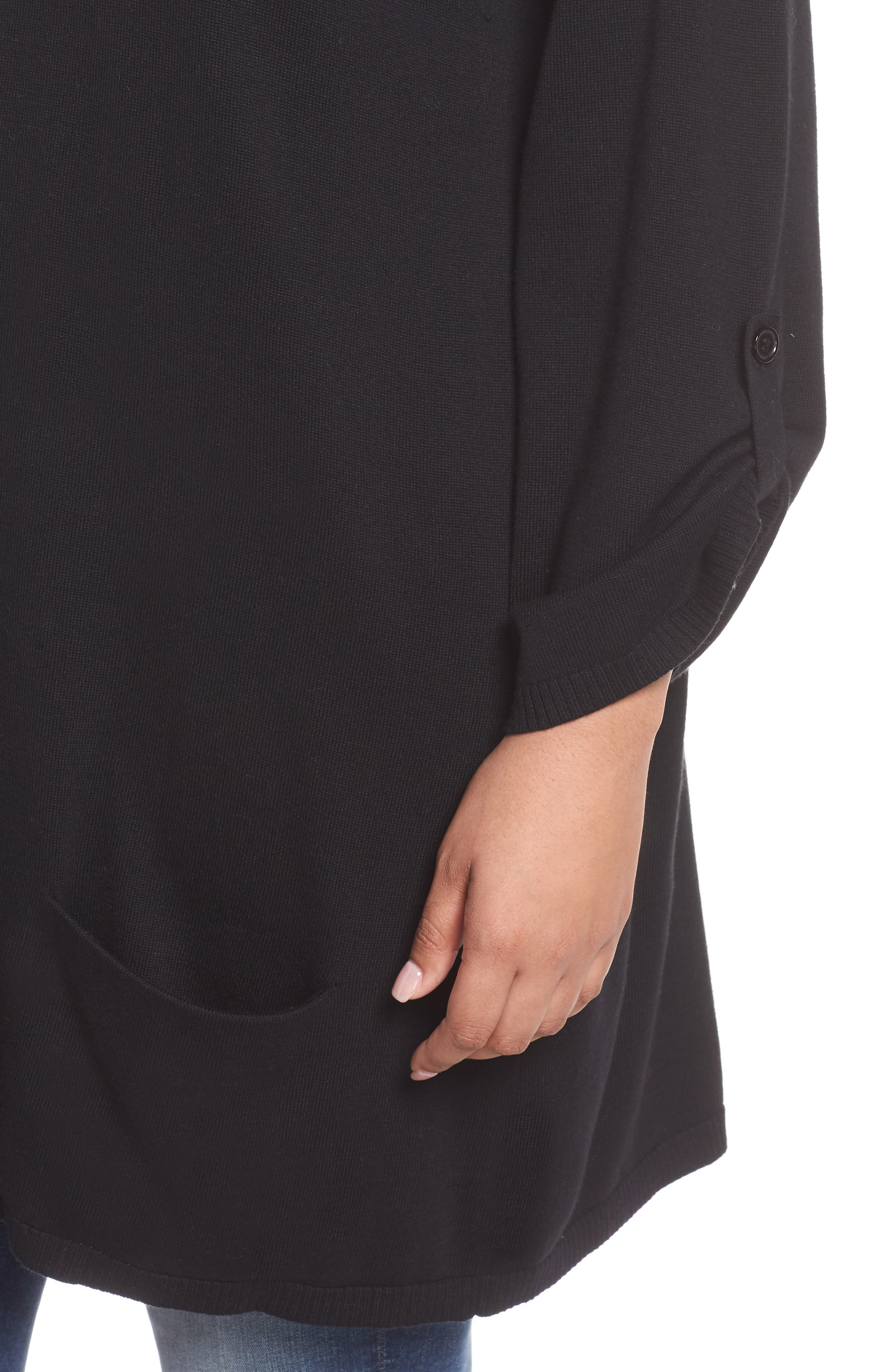 CASLON<SUP>®</SUP>,                             Roll Sleeve Tunic Sweater,                             Alternate thumbnail 4, color,                             BLACK