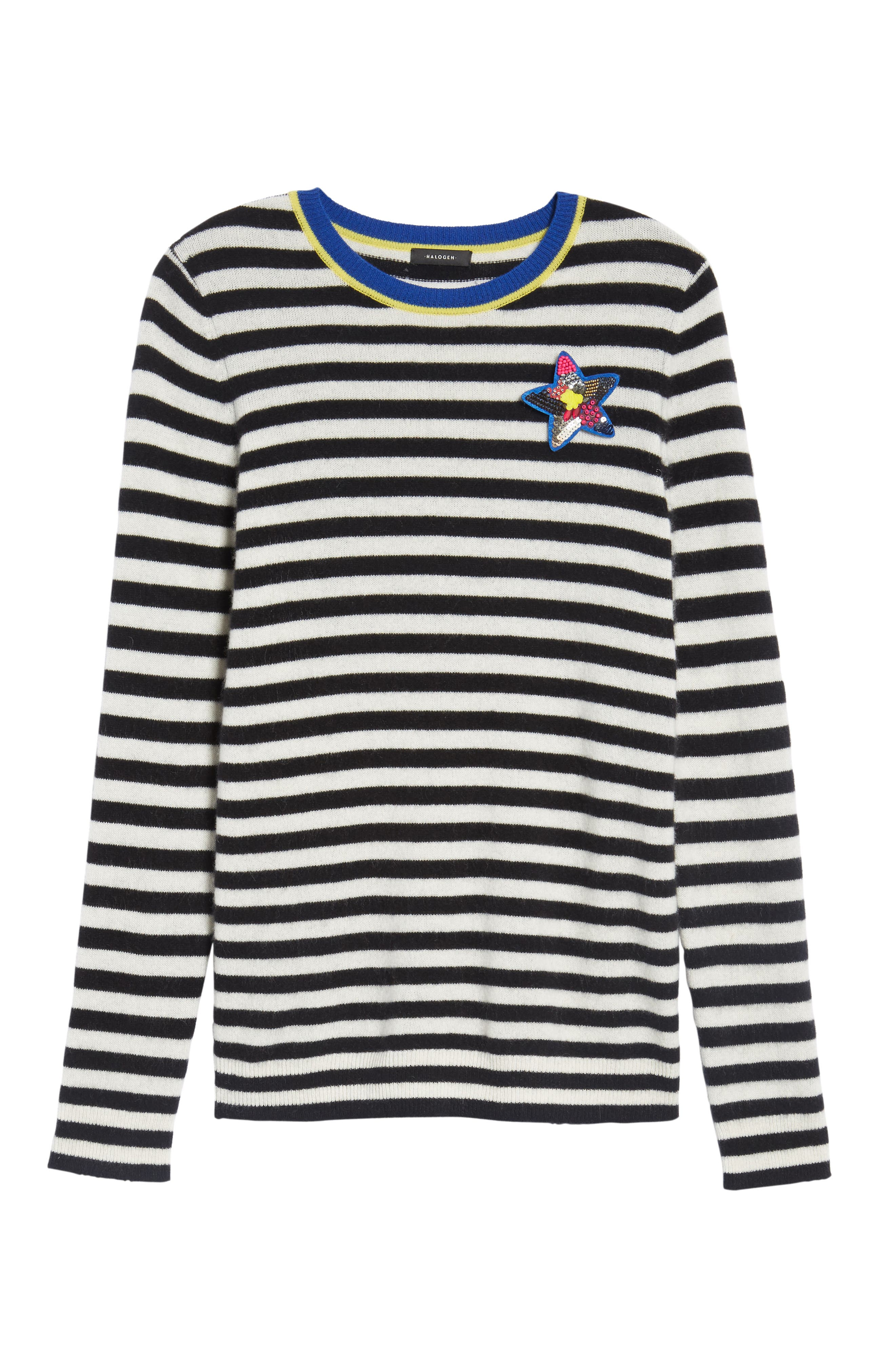 Stripe Cashmere Sweater,                             Alternate thumbnail 6, color,                             001