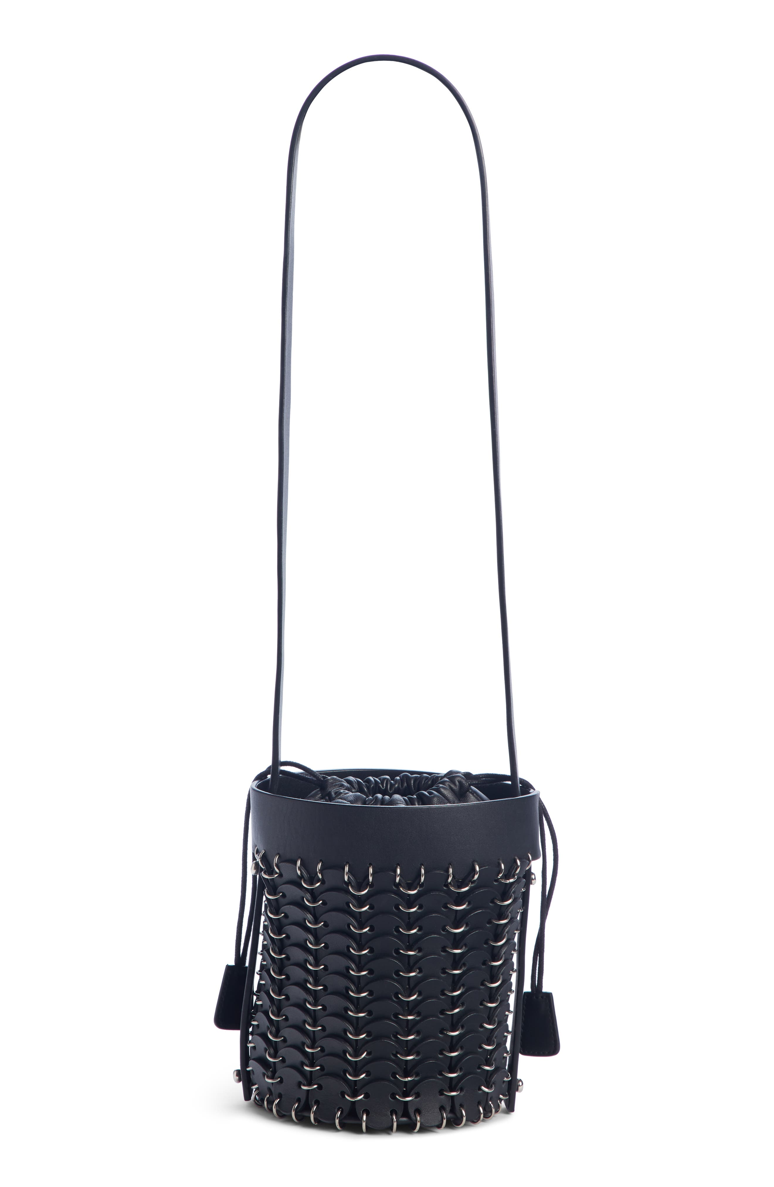 PACO RABANNE,                             Mini Calfskin Bucket Bag,                             Alternate thumbnail 2, color,                             BLACK