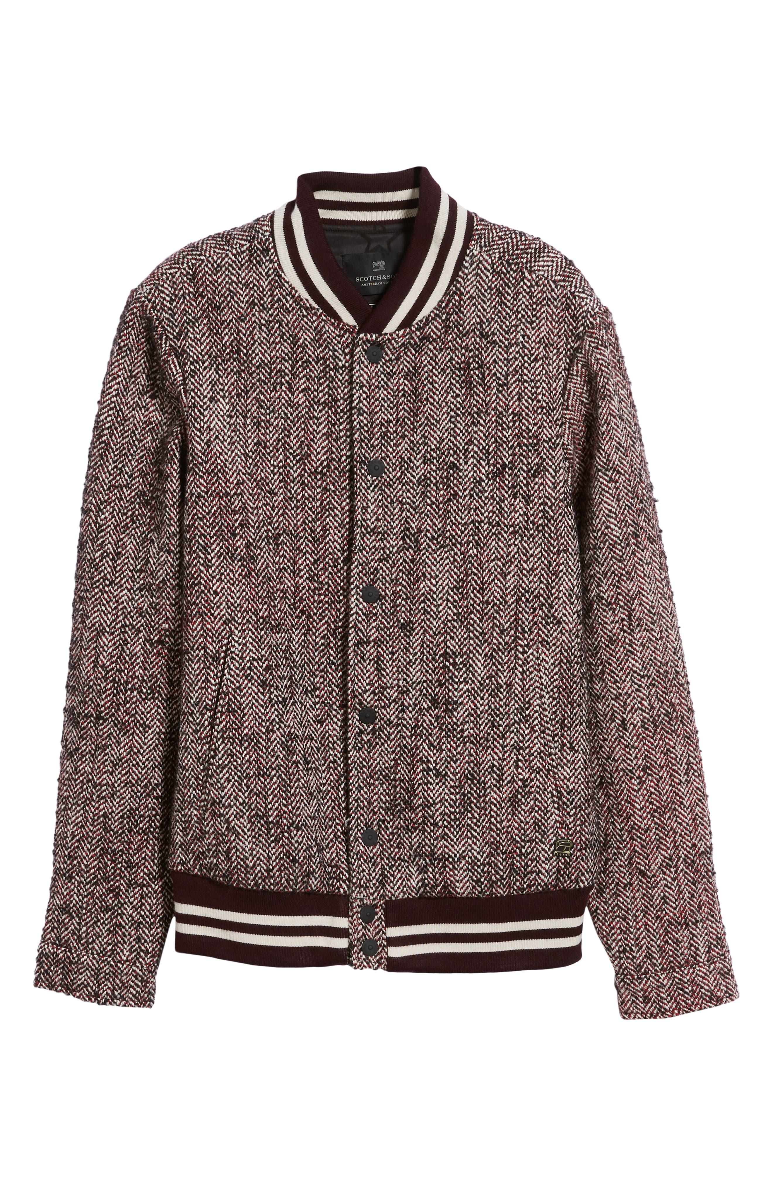 Herringbone Varsity Jacket,                             Alternate thumbnail 5, color,                             COMBO A